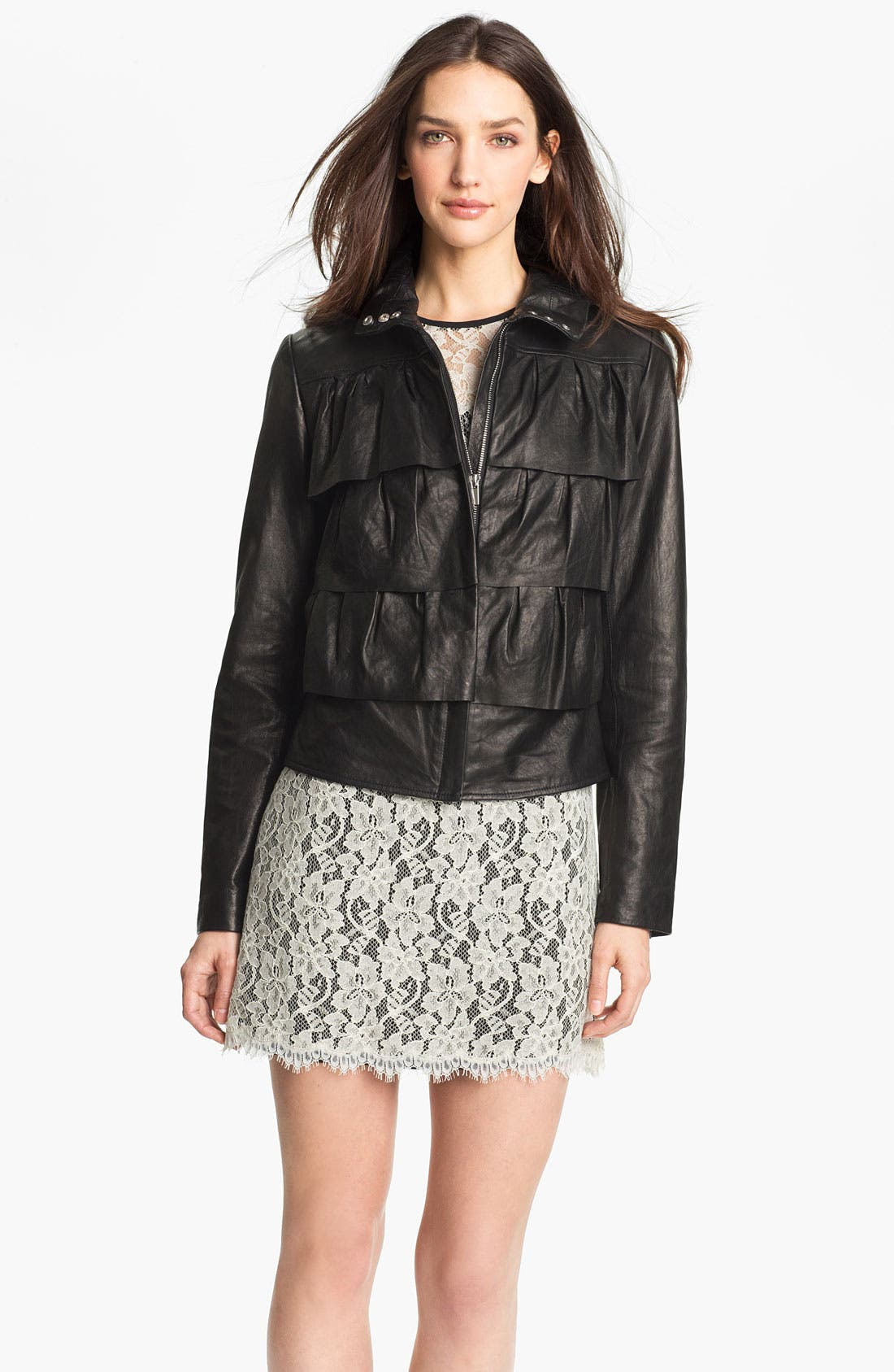 Alternate Image 1 Selected - Diane von Furstenberg 'Cupcake' Leather Bomber Jacket