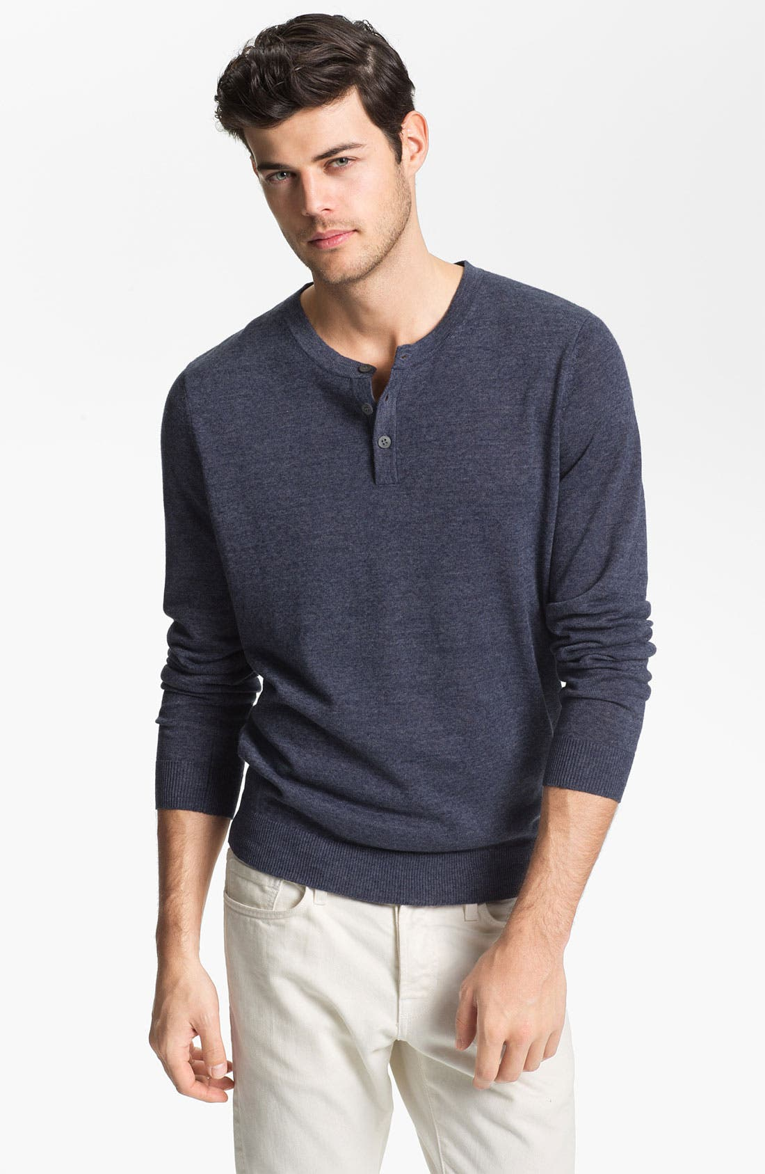 Main Image - Vince Linen Blend Henley Sweater