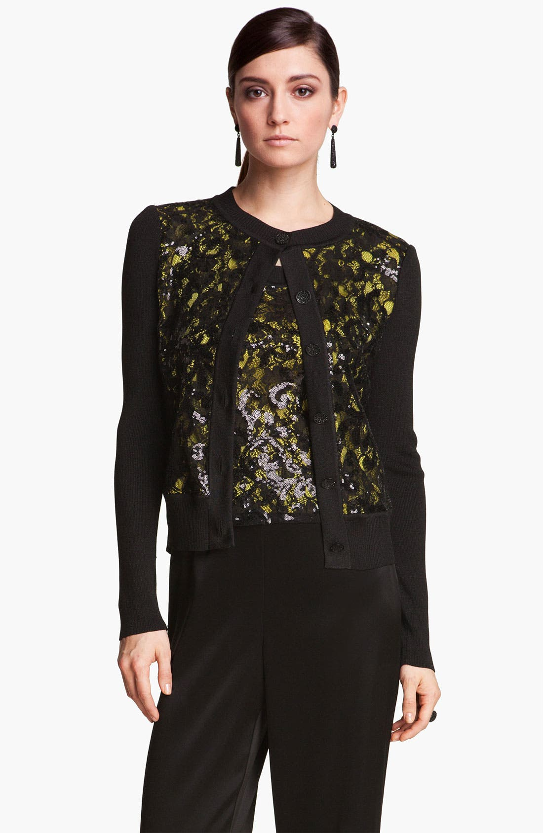 Main Image - St. John Collection Sequin Lace & Shimmer Knit Cardigan