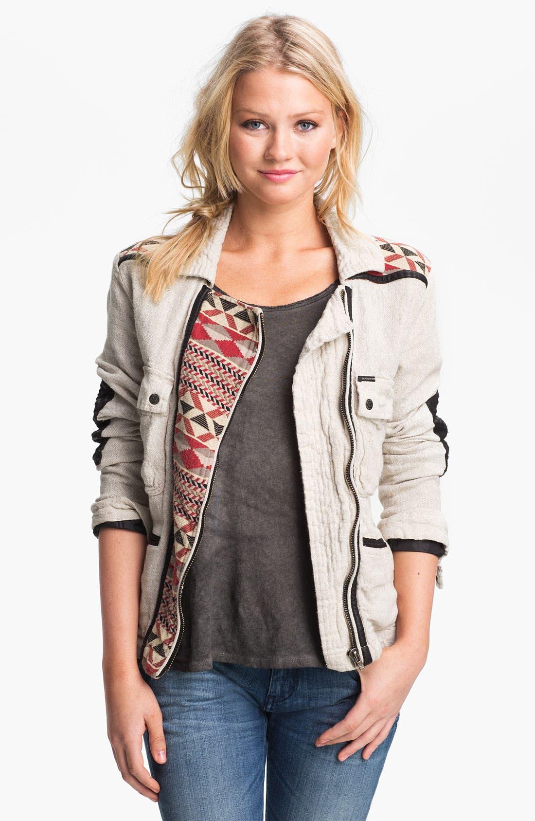 Main Image - Maison Scotch Faux Leather & Ikat Trim Field Jacket