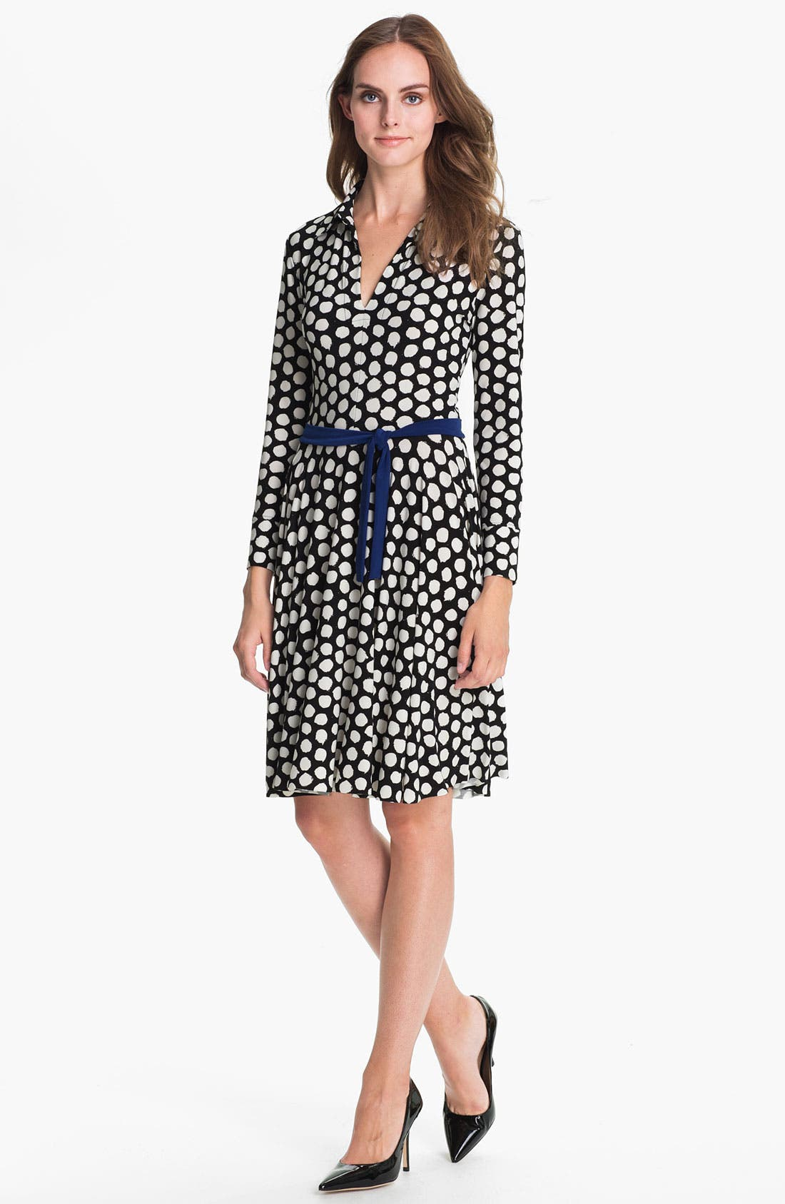 Alternate Image 1 Selected - KAMALIKULTURE Dotted Flared Shirtdress
