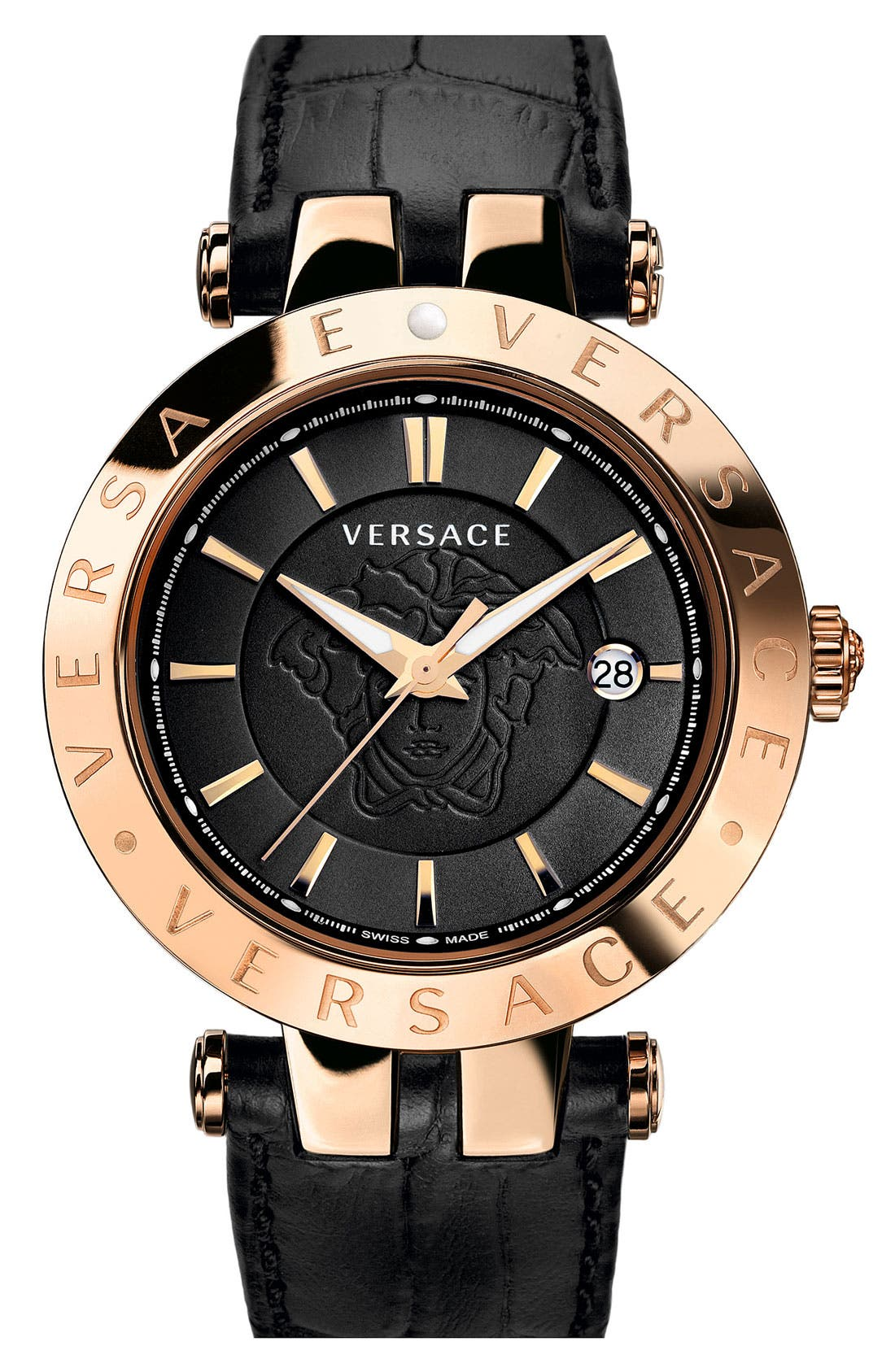 Main Image - Versace 'V-Race' Leather Strap Watch, 42mm