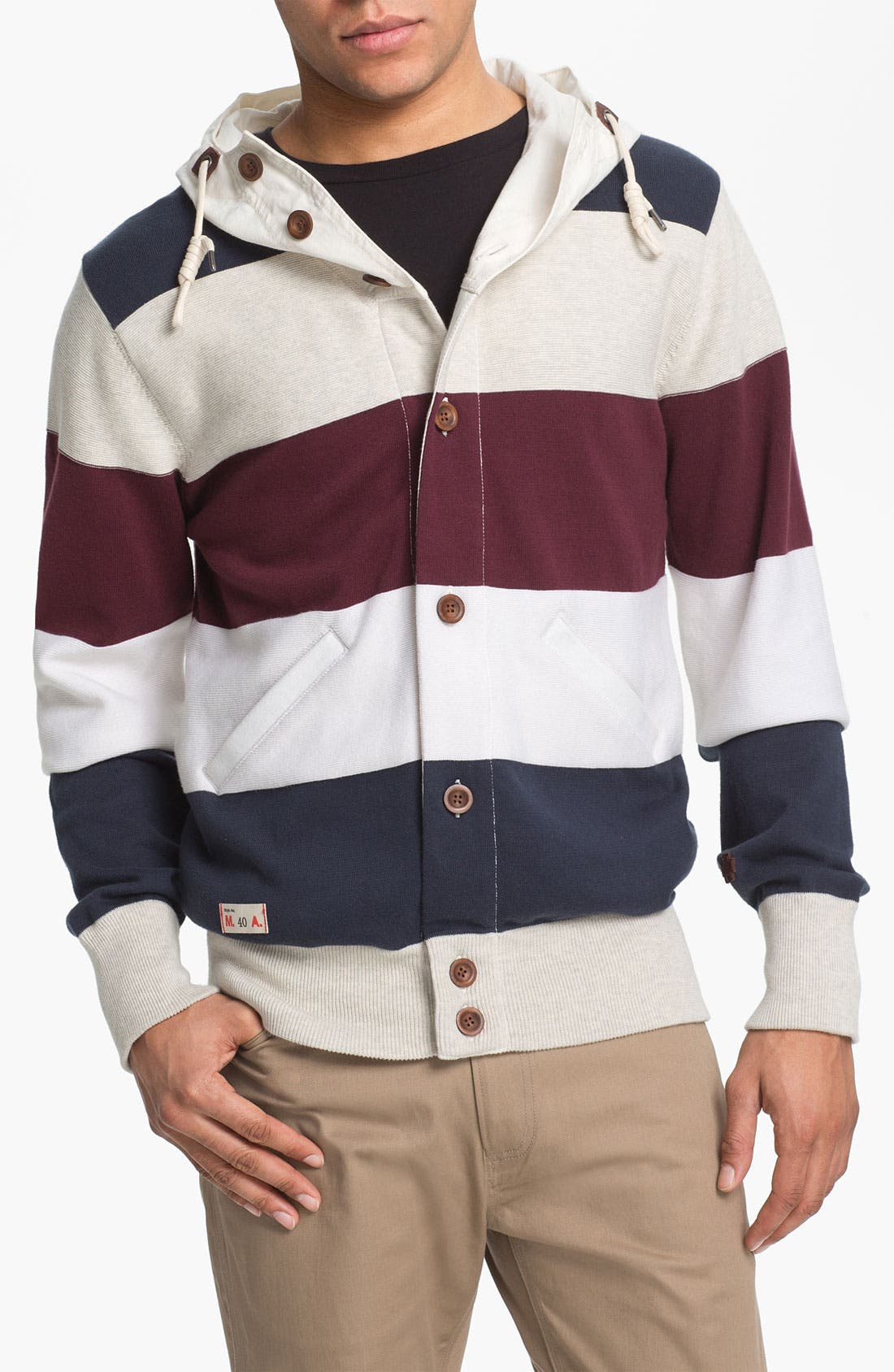 Alternate Image 1 Selected - Marshall Artist Stripe Cotton Hooded Jacket