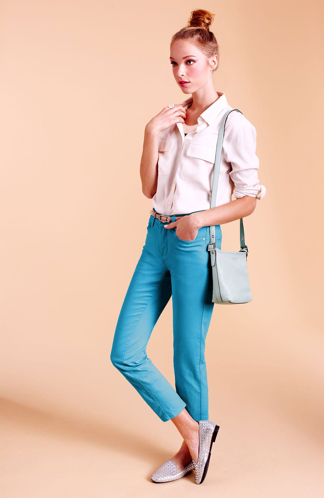 Alternate Image 1 Selected - Nexx Silk Shirt & NYDJ Ankle Jeans