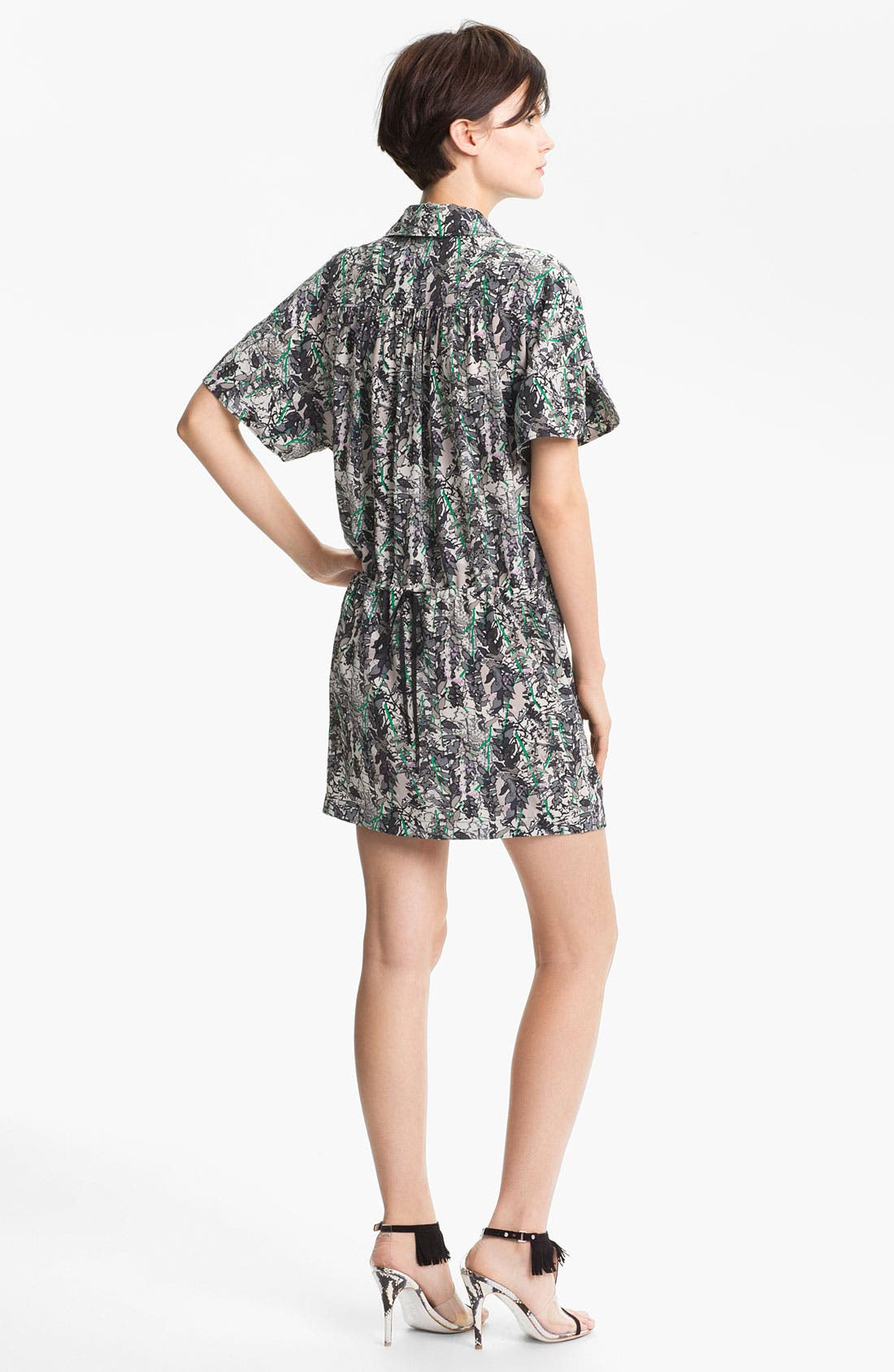 Alternate Image 2  - Tracy Reese Leaf Print Silk Shirtdress