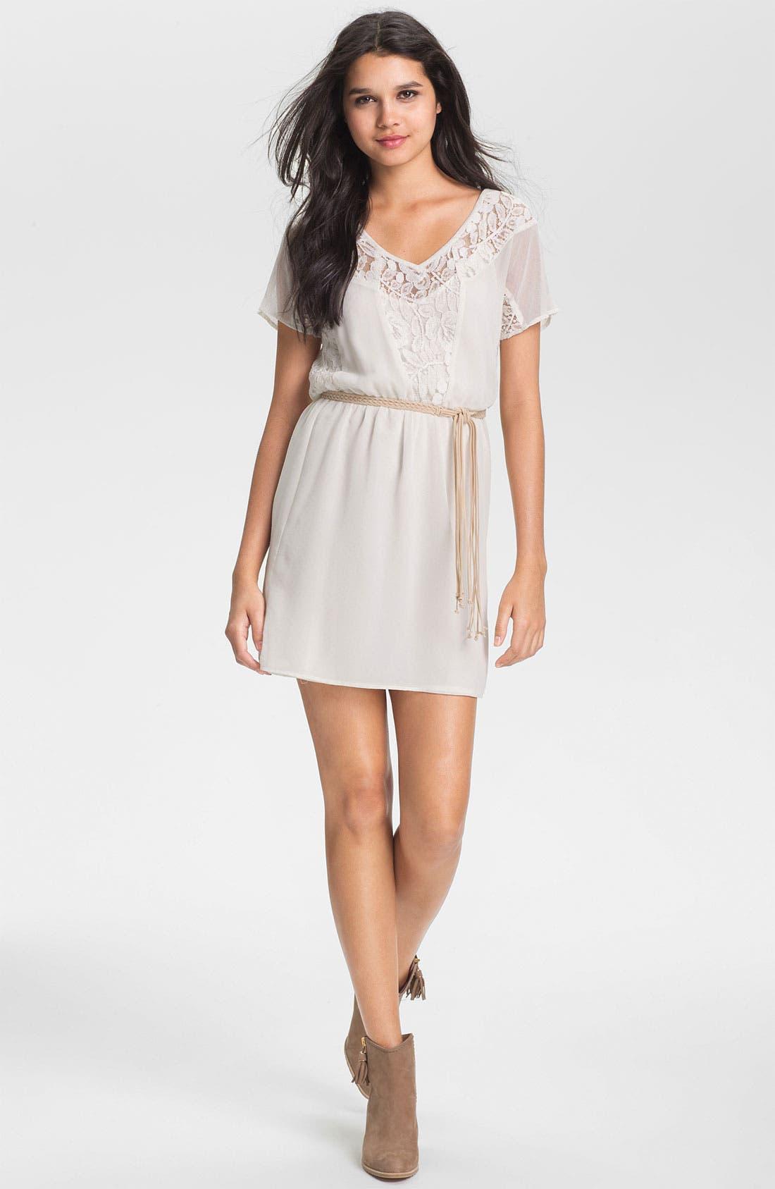 Braided Belt Lace Trim Dress,                             Main thumbnail 1, color,                             Ivory