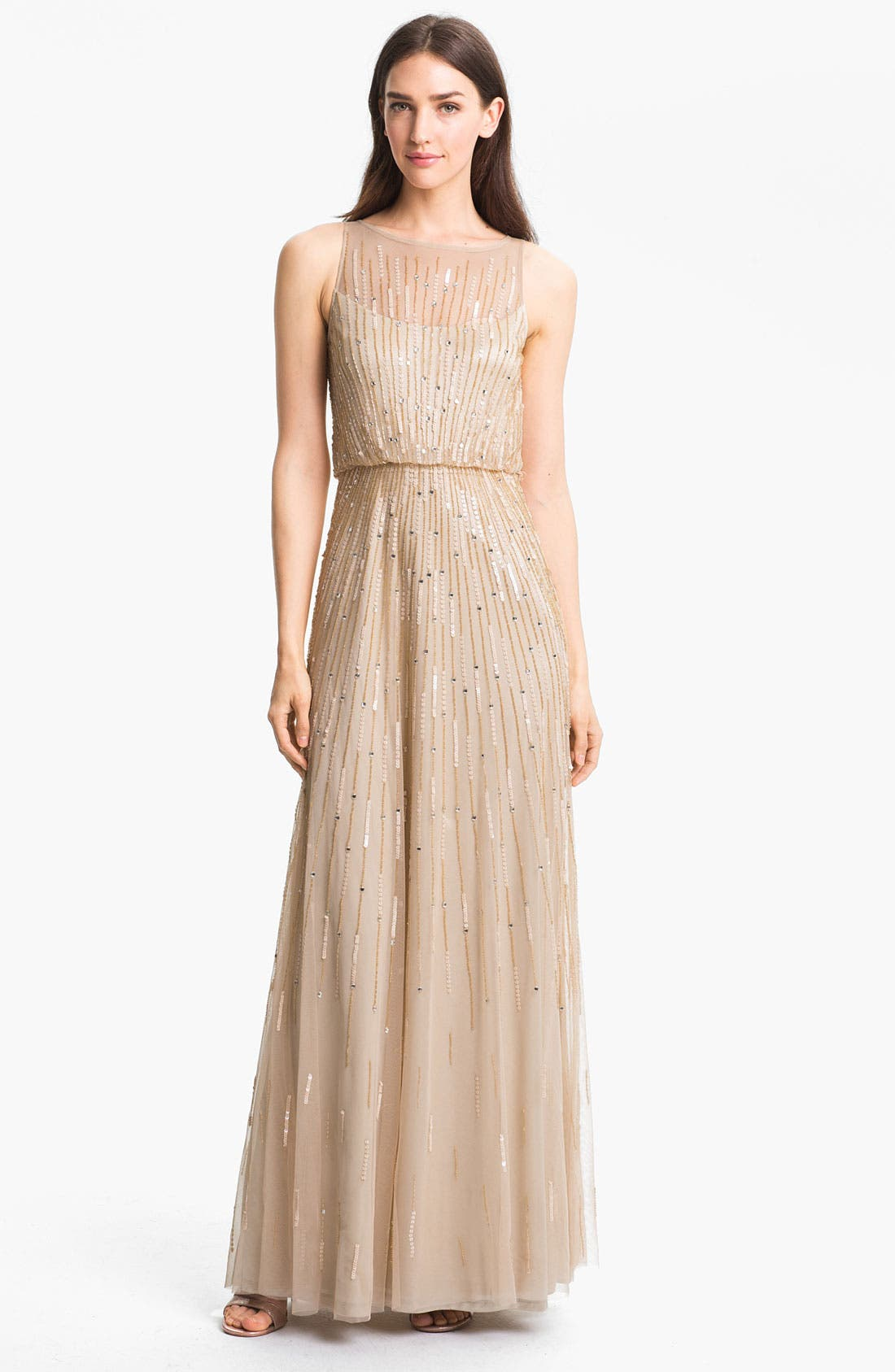 Main Image - Aidan Mattox Illusion Yoke Sequin Mesh Gown (Online Only)