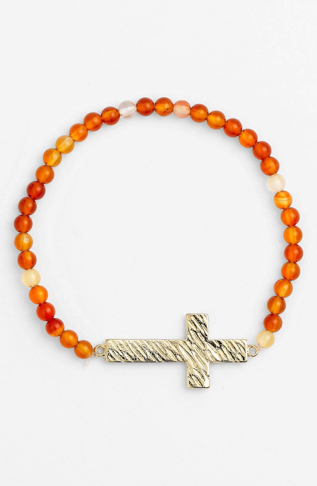 Alternate Image 1 Selected - Cara Cross & Bead Stretch Bracelet