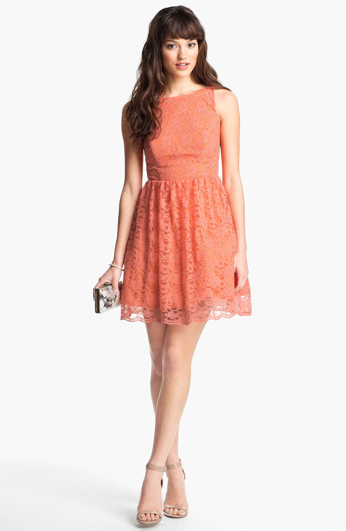 Main Image - Way-In Cutout Lace Skater Dress (Juniors)