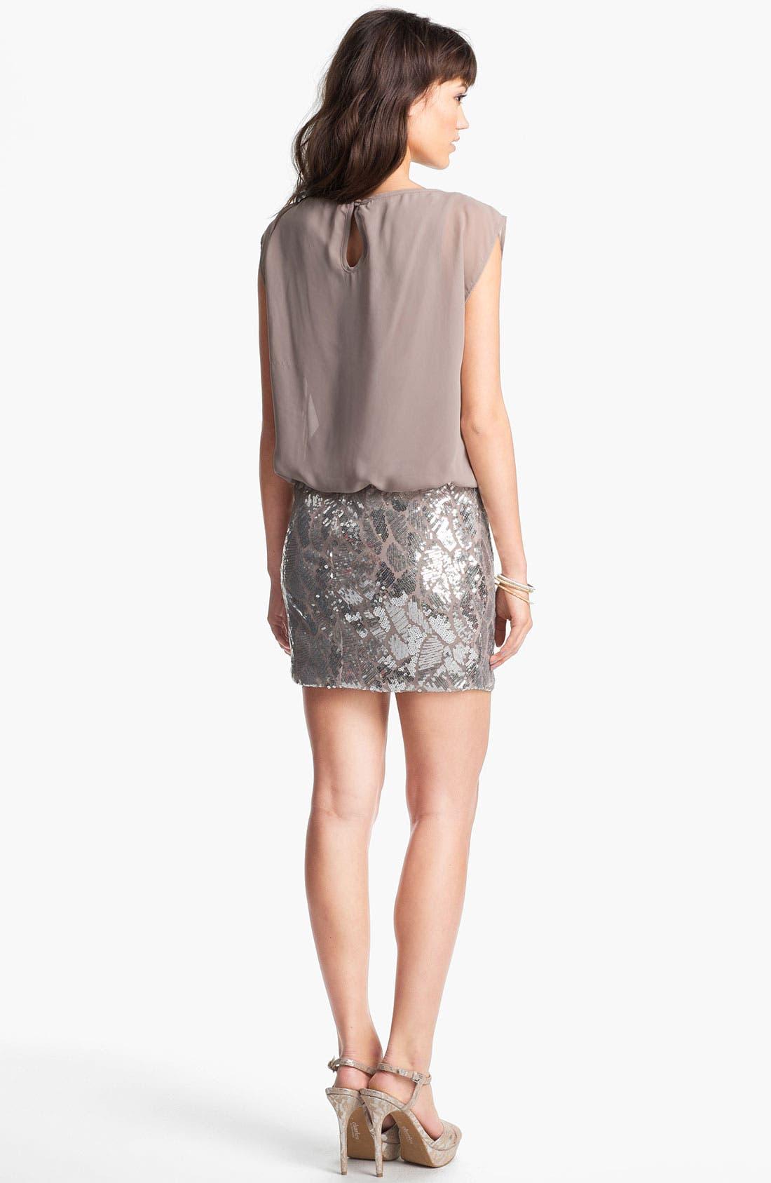 Alternate Image 2  - As U Wish Sequin Skirt Blouson Dress (Juniors)