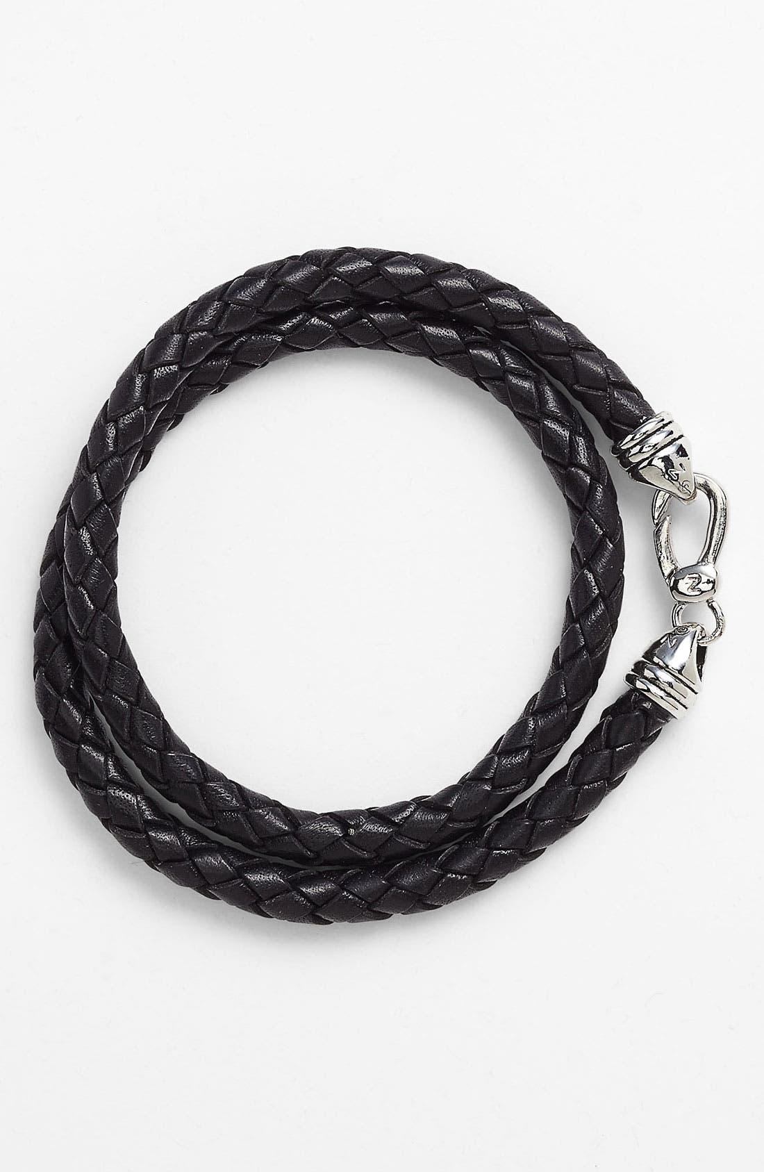 Alternate Image 1 Selected - Zack Wrap Braided Leather Bracelet