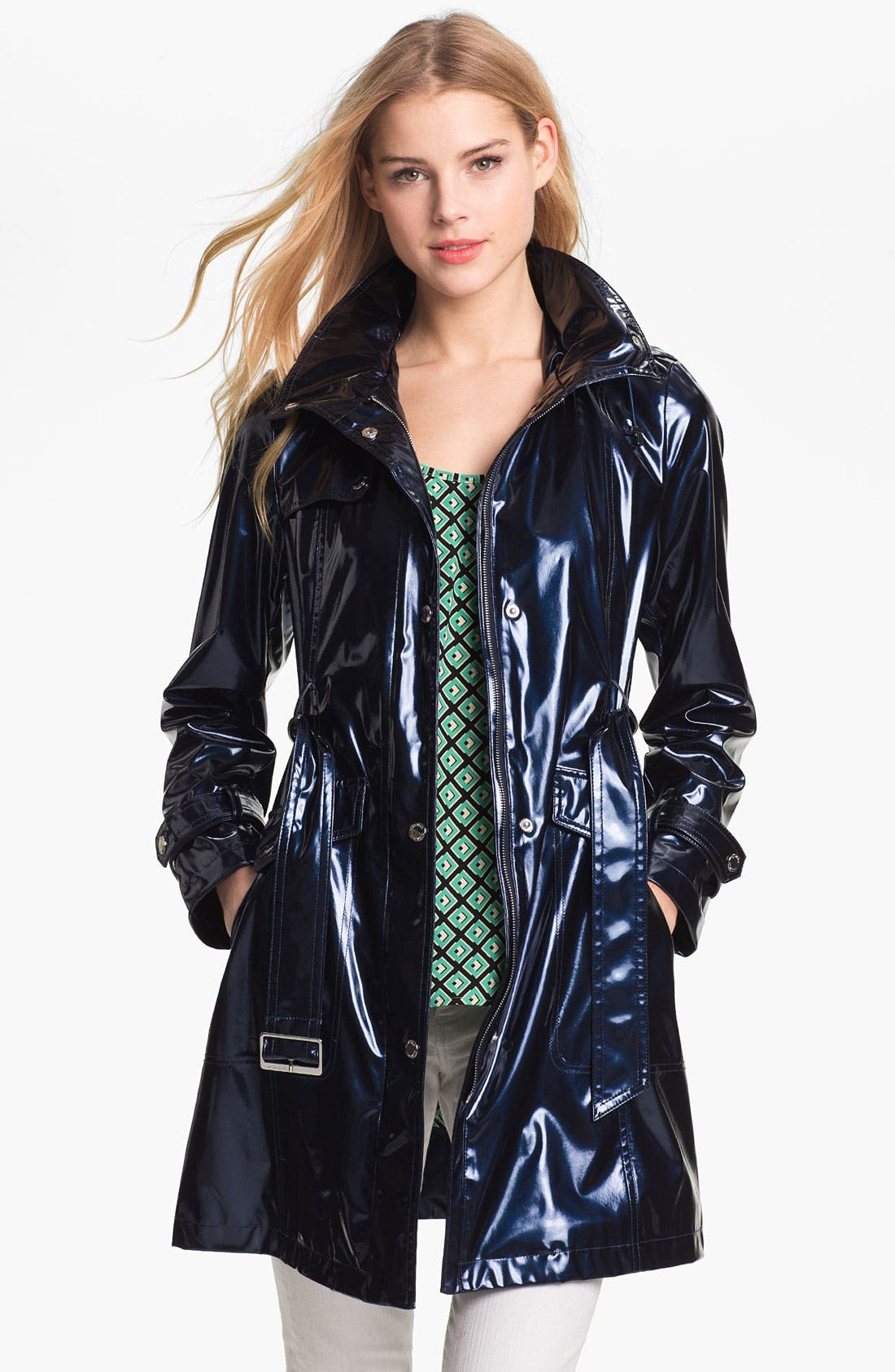 Alternate Image 2  - Ellen Tracy Pearlized Trench Coat (Petite) (Online Only)