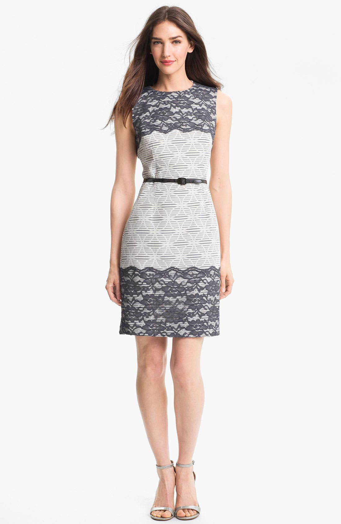 Alternate Image 1 Selected - Maggy London Lace Appliqué Print Sheath Dress