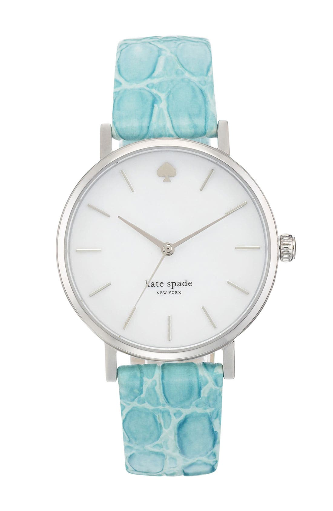 Main Image - kate spade new york 'metro' embossed leather strap watch, 34mm