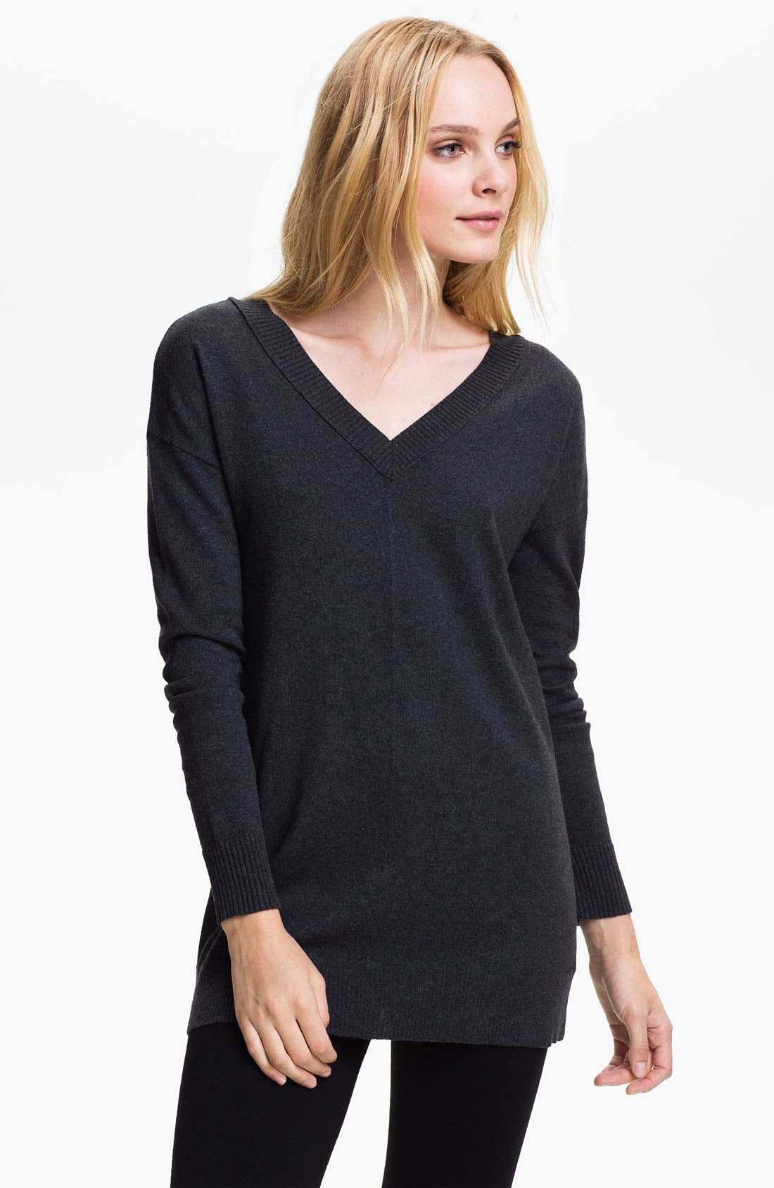 Main Image - Caslon Double V-Neck Tunic Sweater (Petite)