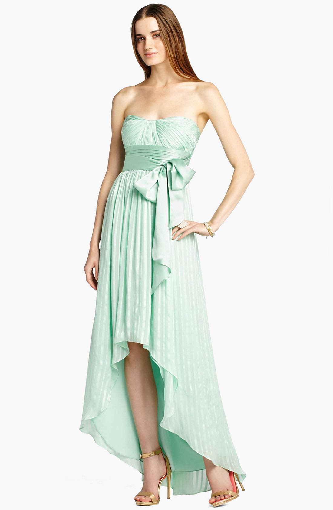 Alternate Image 1 Selected - BCBGMAXAZRIA Crinkled High/Low Silk Gown