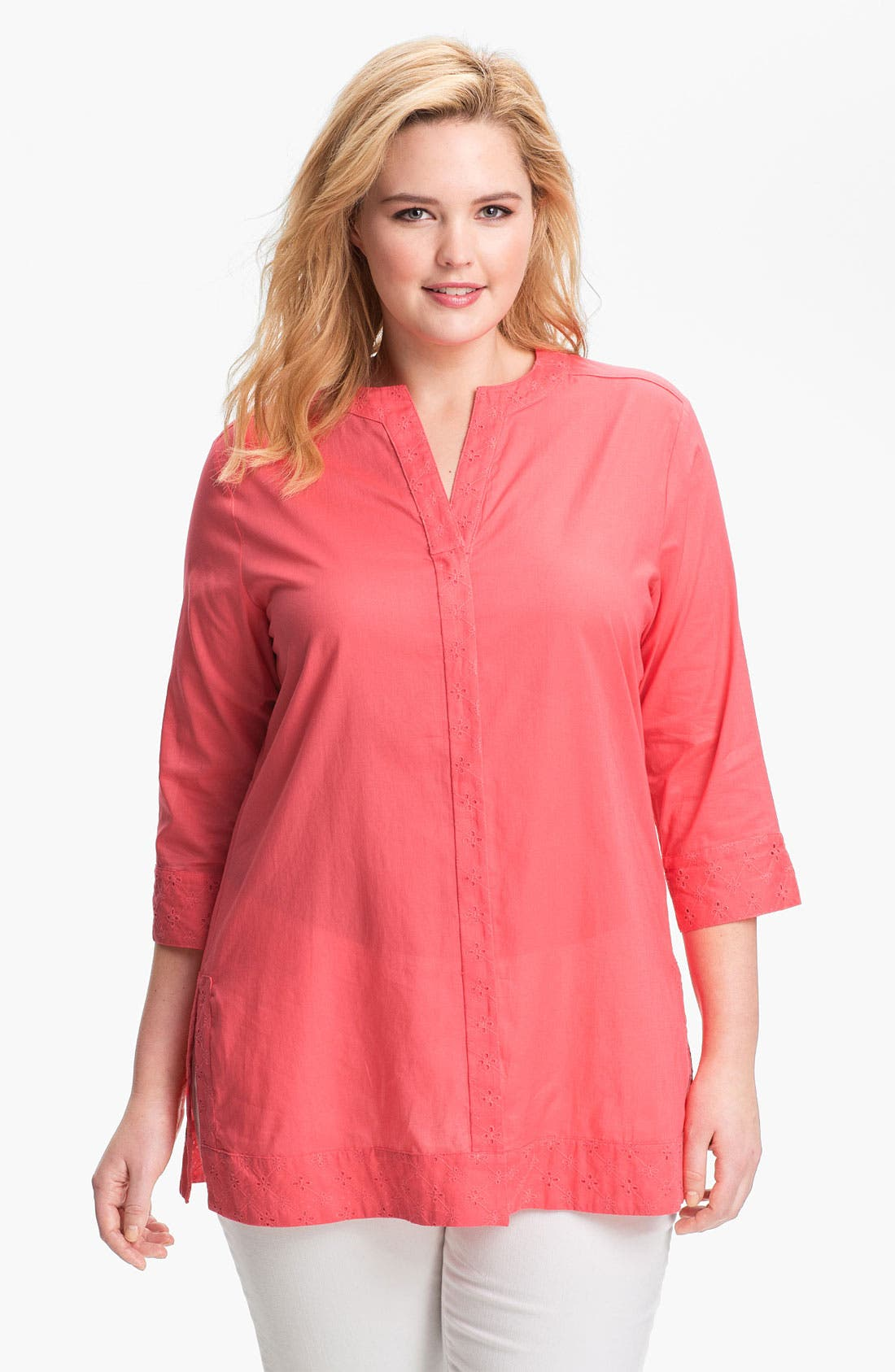 Main Image - Foxcroft Shaped Cotton Tunic (Plus)