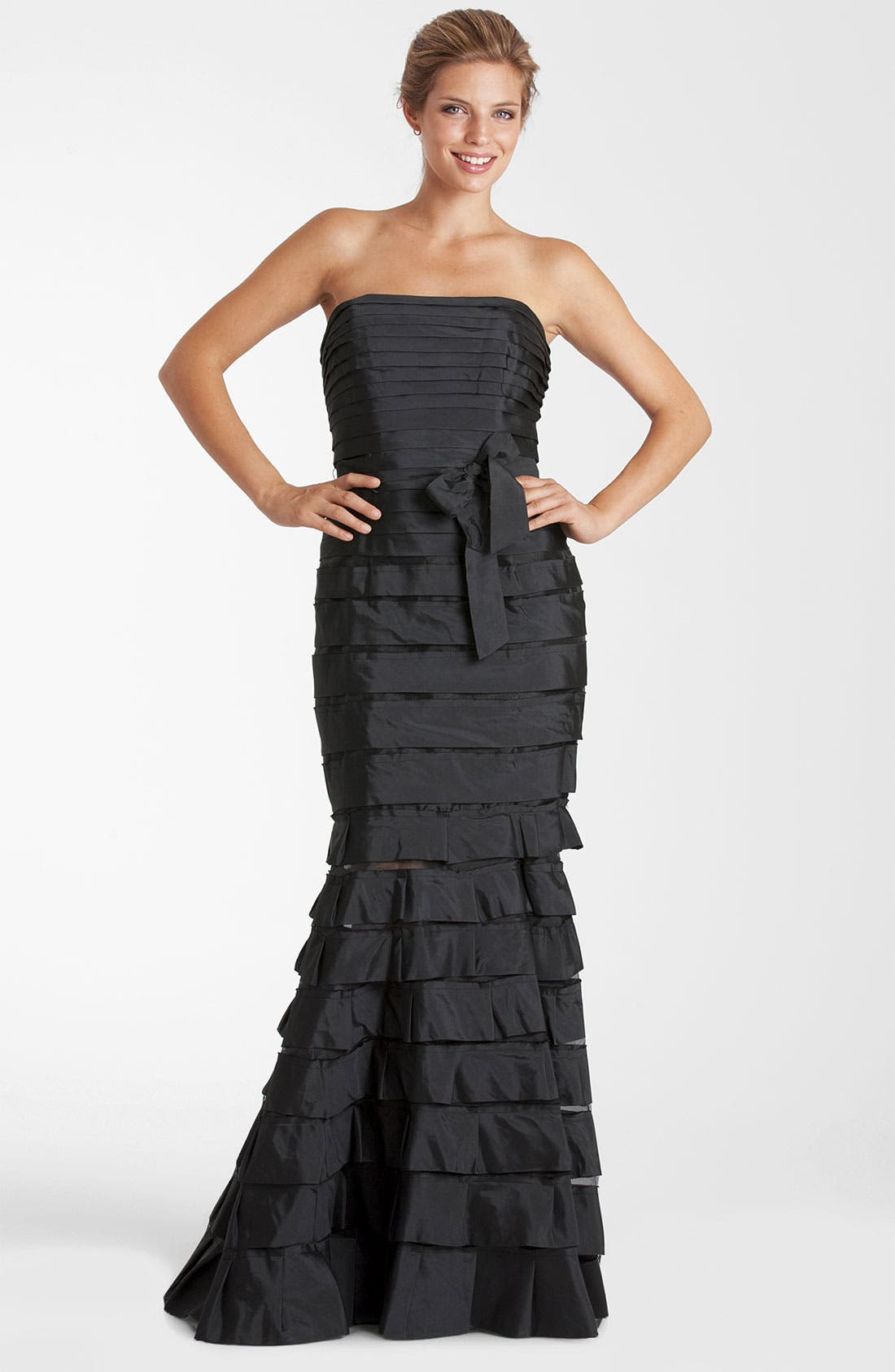 Alternate Image 1 Selected - JS Collections Strapless Tiered Taffeta Trumpet Gown (Petite)