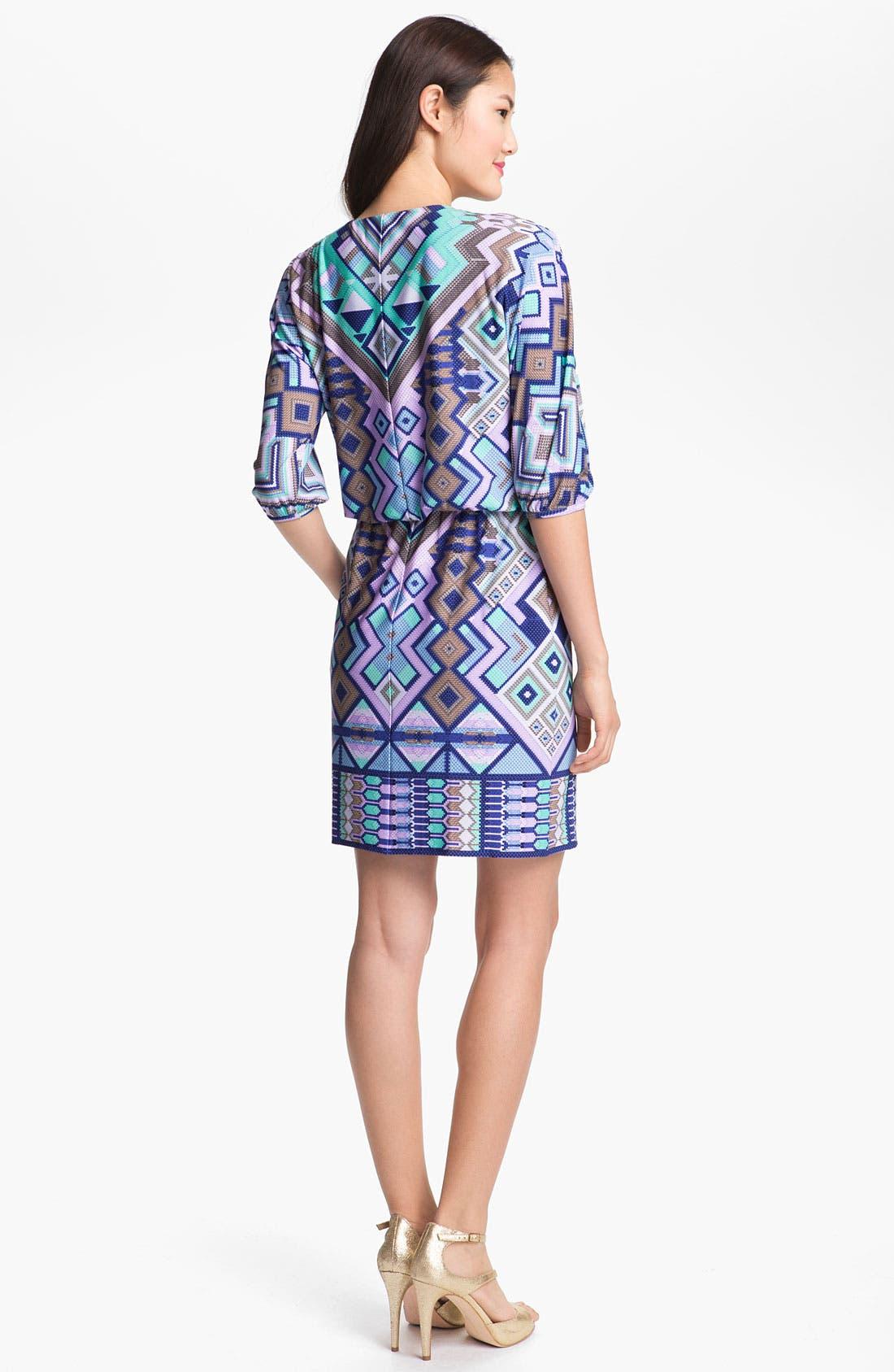 Alternate Image 2  - Donna Morgan Embellished Print Blouson Dress