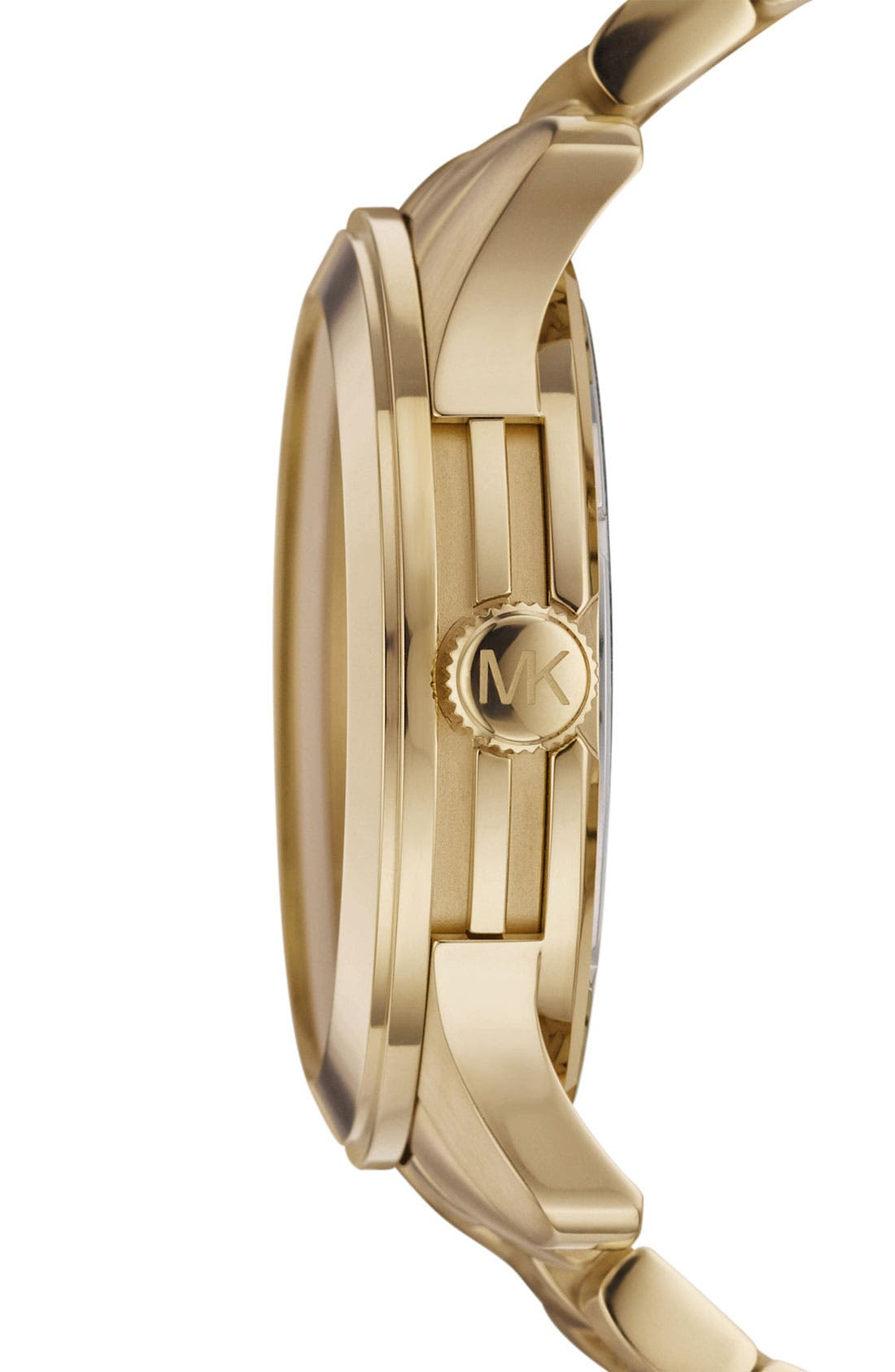 Michael Kors 'Runway' Logo Dial Watch,                             Alternate thumbnail 2, color,                             Gold