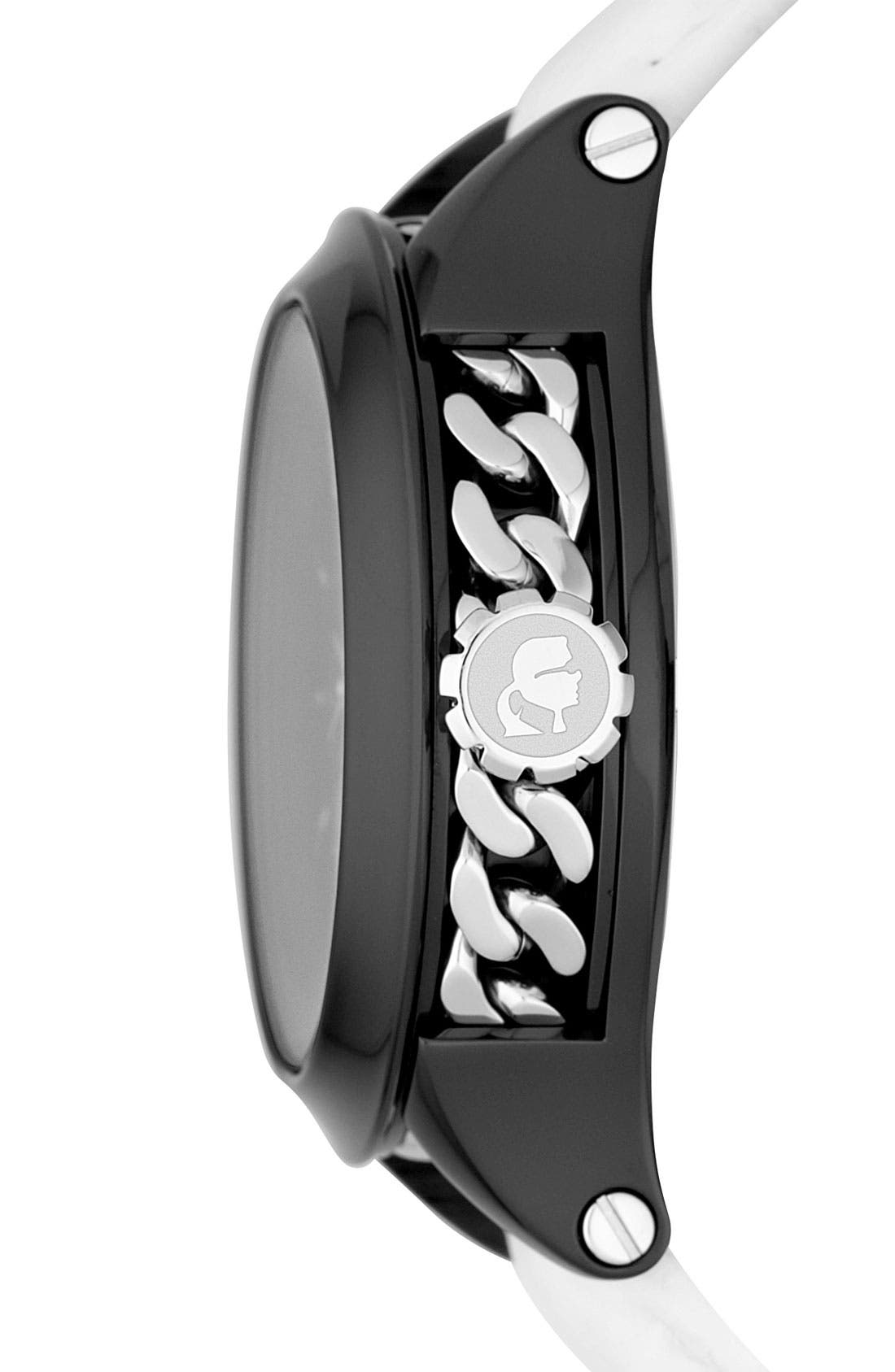 Alternate Image 2  - KARL LAGERFELD Chain Detail Leather Watch, 40mm
