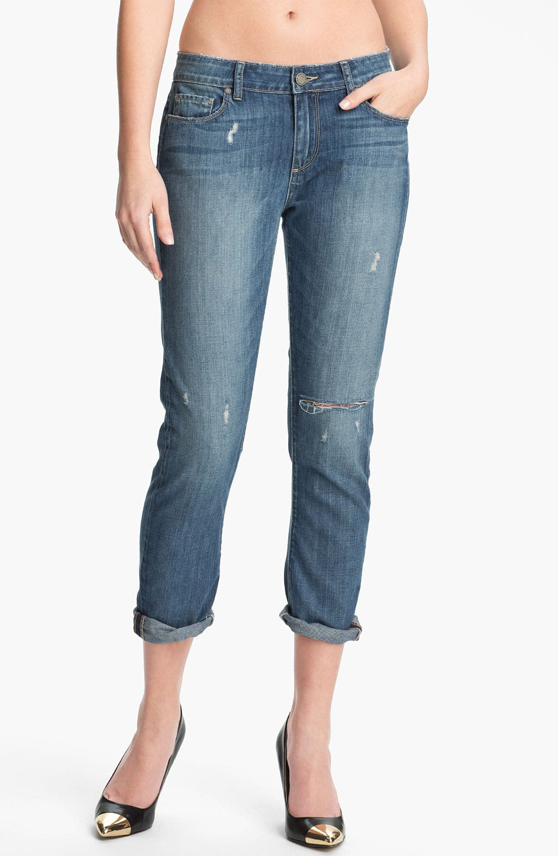 Main Image - Paige Denim 'Lydia' Distressed Skinny Jeans (Riley)