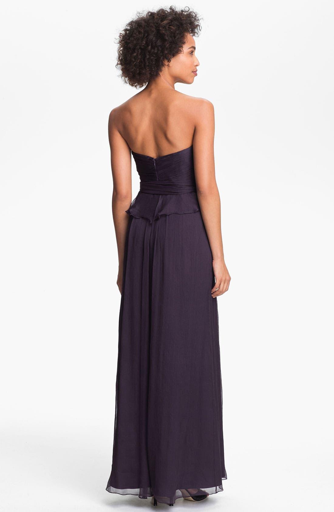 Alternate Image 2  - Amsale Crinkled Silk Chiffon Peplum Gown