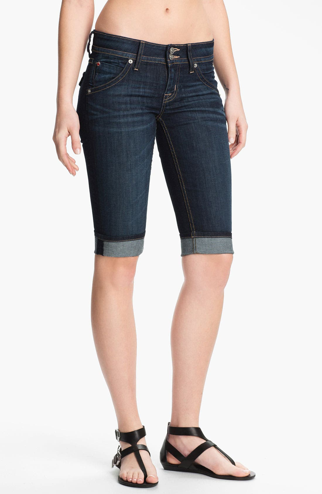 Alternate Image 1 Selected - Hudson Jeans Cuff Stretch Denim Bermuda Shorts (Stella)