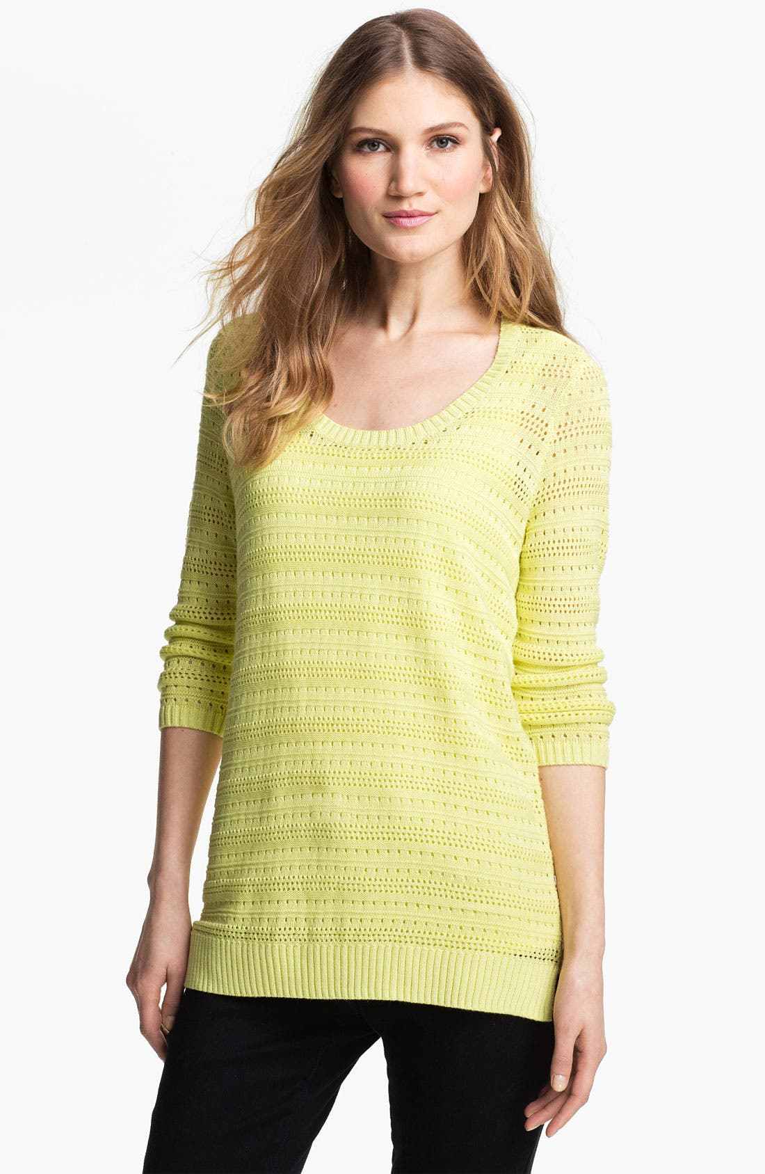 Pointelle Sweater,                         Main,                         color, Lime Charlock