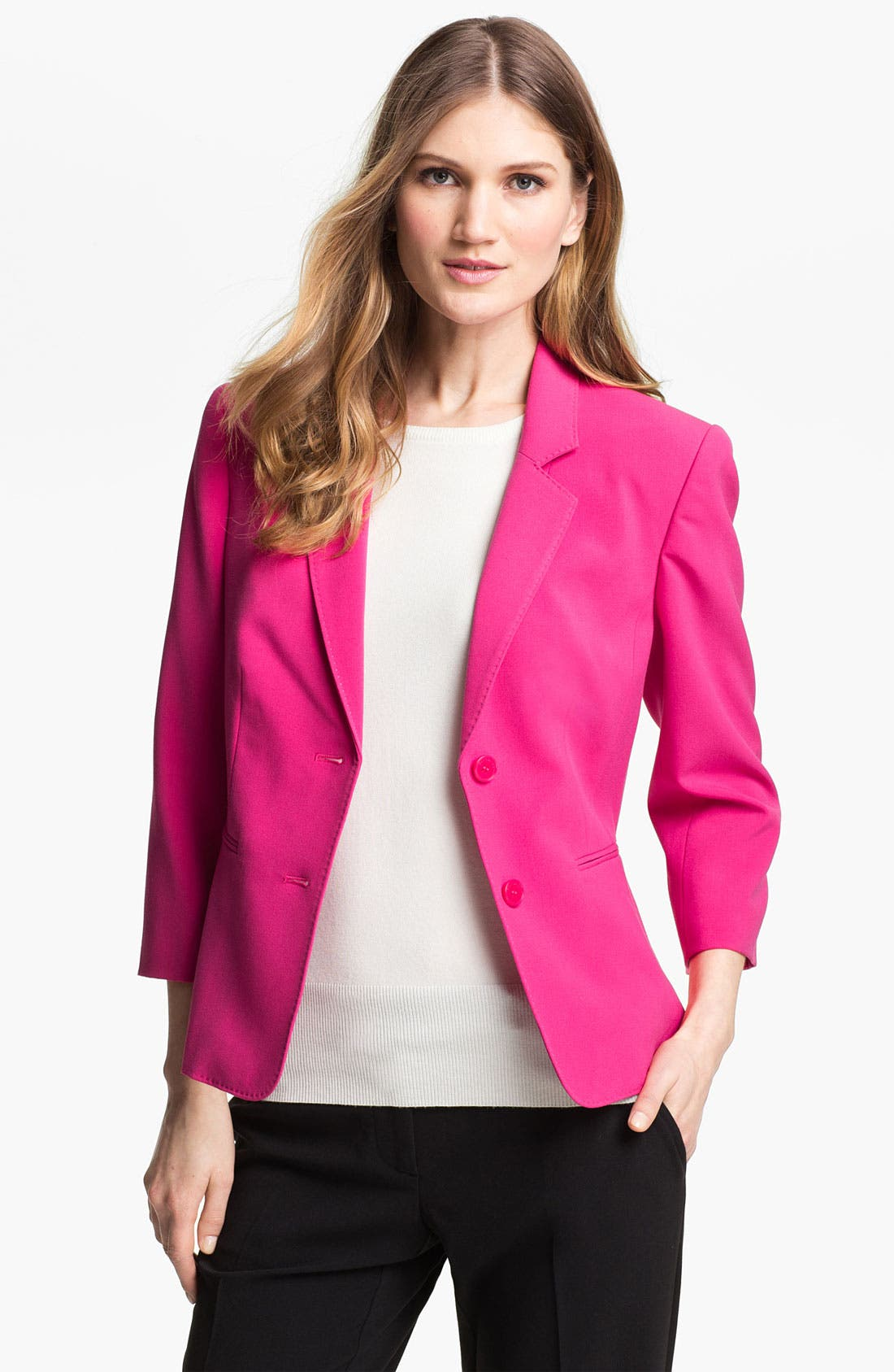 Alternate Image 1 Selected - Isaac Mizrahi New York Two Button Stretch Blazer