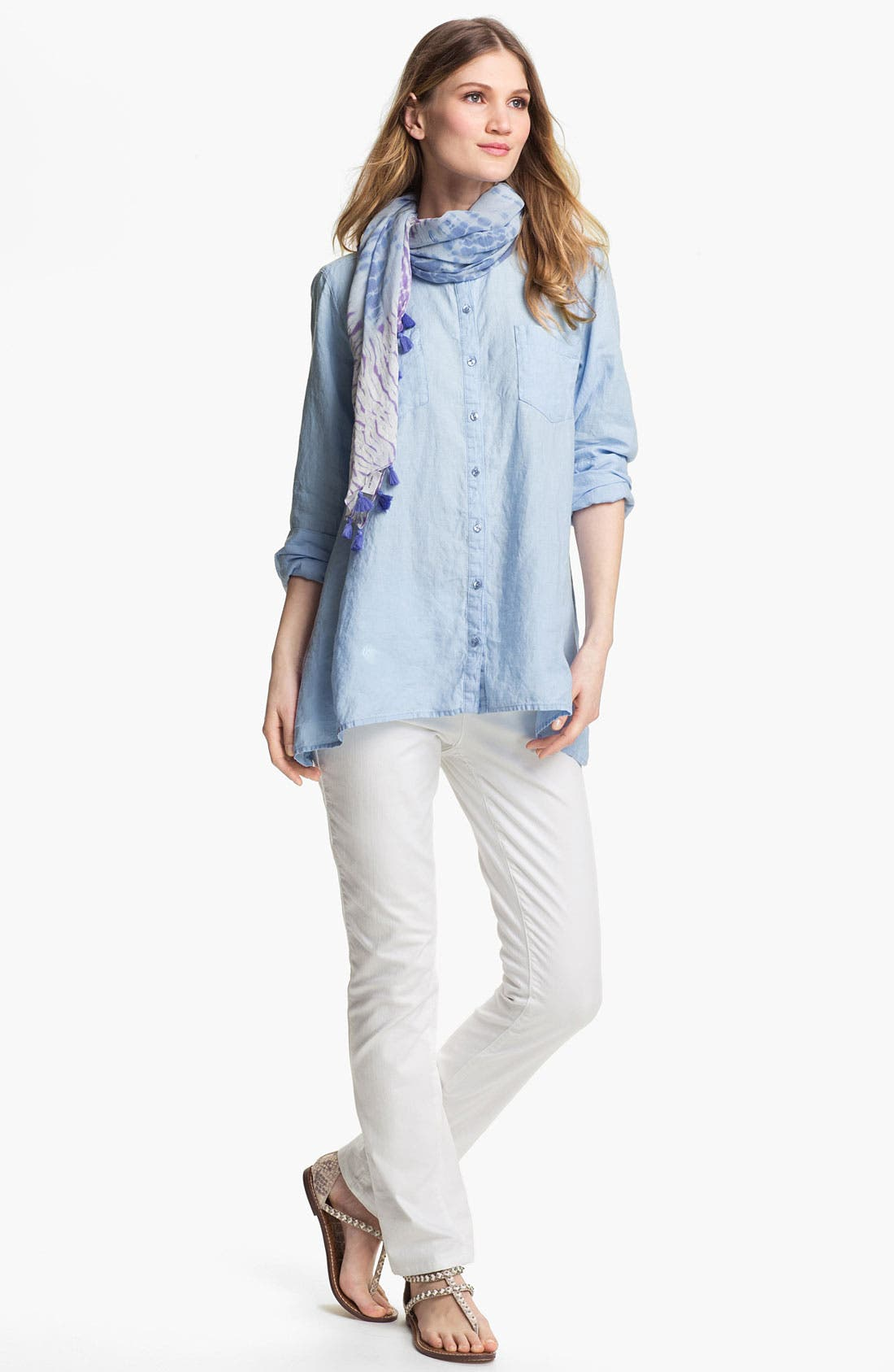 Alternate Image 4  - Eileen Fisher Mandarin Collar Organic Linen Shirt