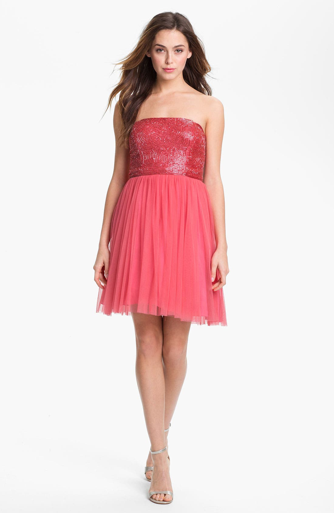 Alternate Image 2  - Aidan Mattox Embellished Bodice Mesh Dress (Online Only)