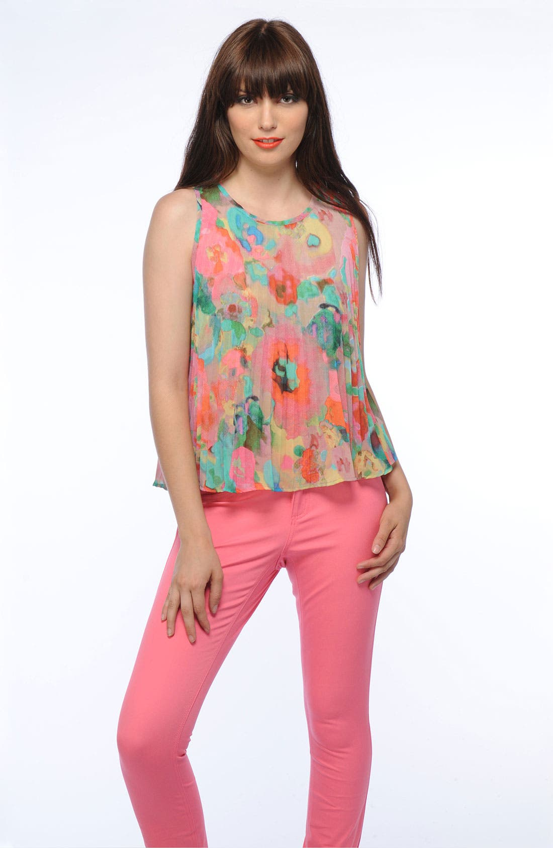 Alternate Image 5  - BB Dakota Watercolor Print Pleated Top