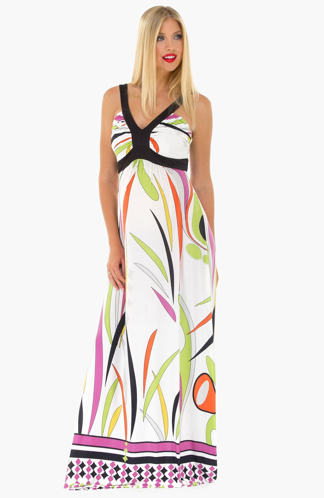 Main Image - Olian Maternity Print Maxi Dress