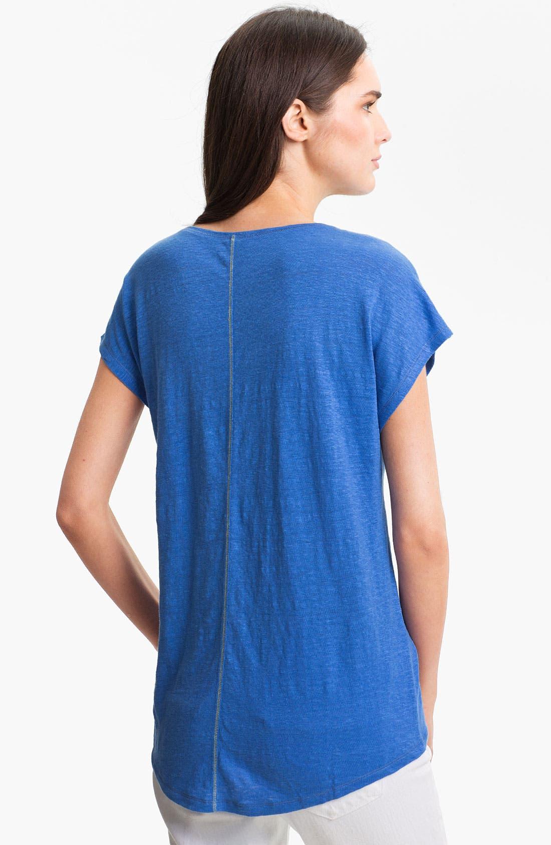 Alternate Image 2  - Eileen Fisher Cap Sleeve Linen Tee (Petite)