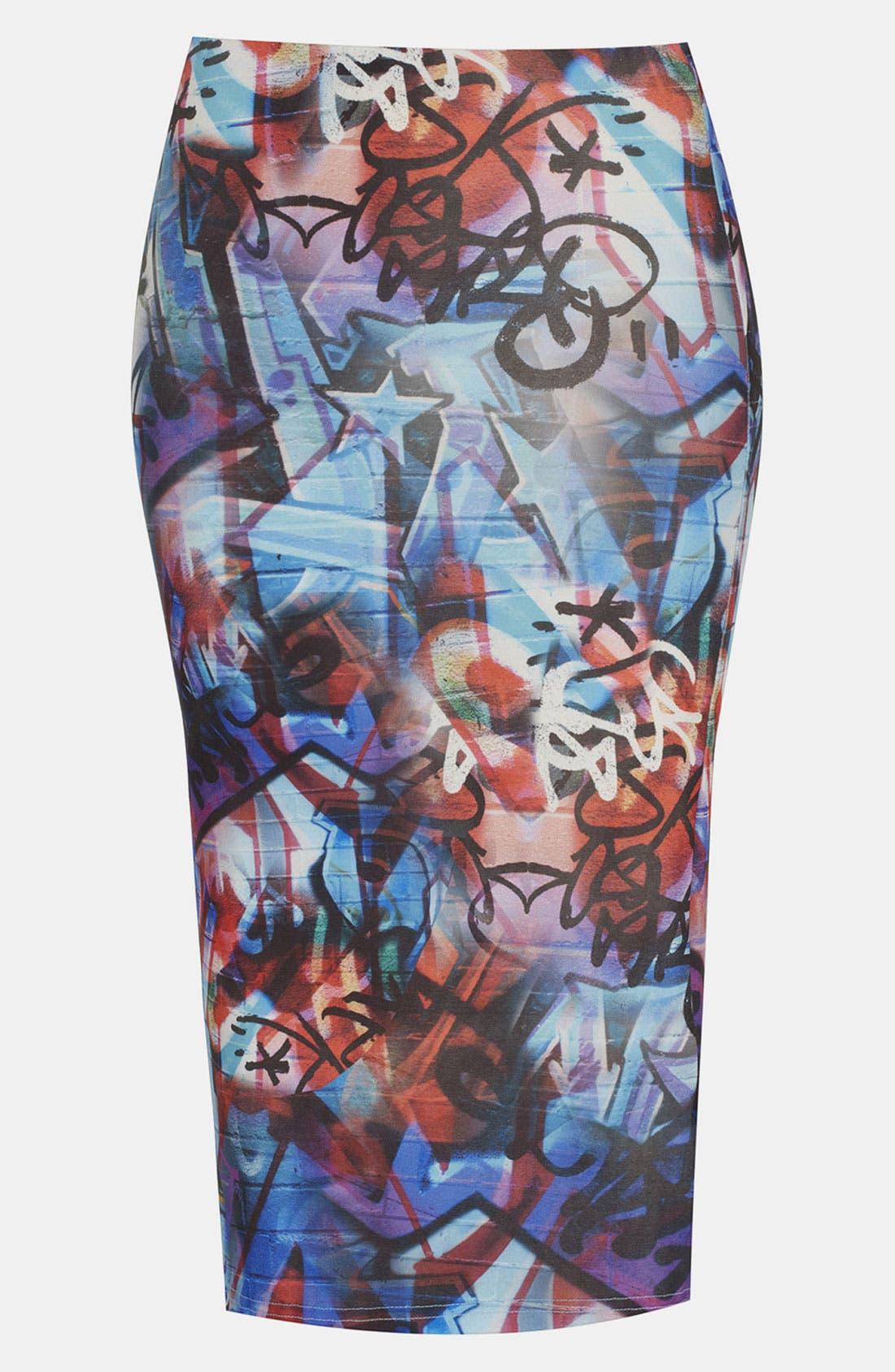 Alternate Image 1 Selected - Topshop 'Graffiti' Print Midi Skirt
