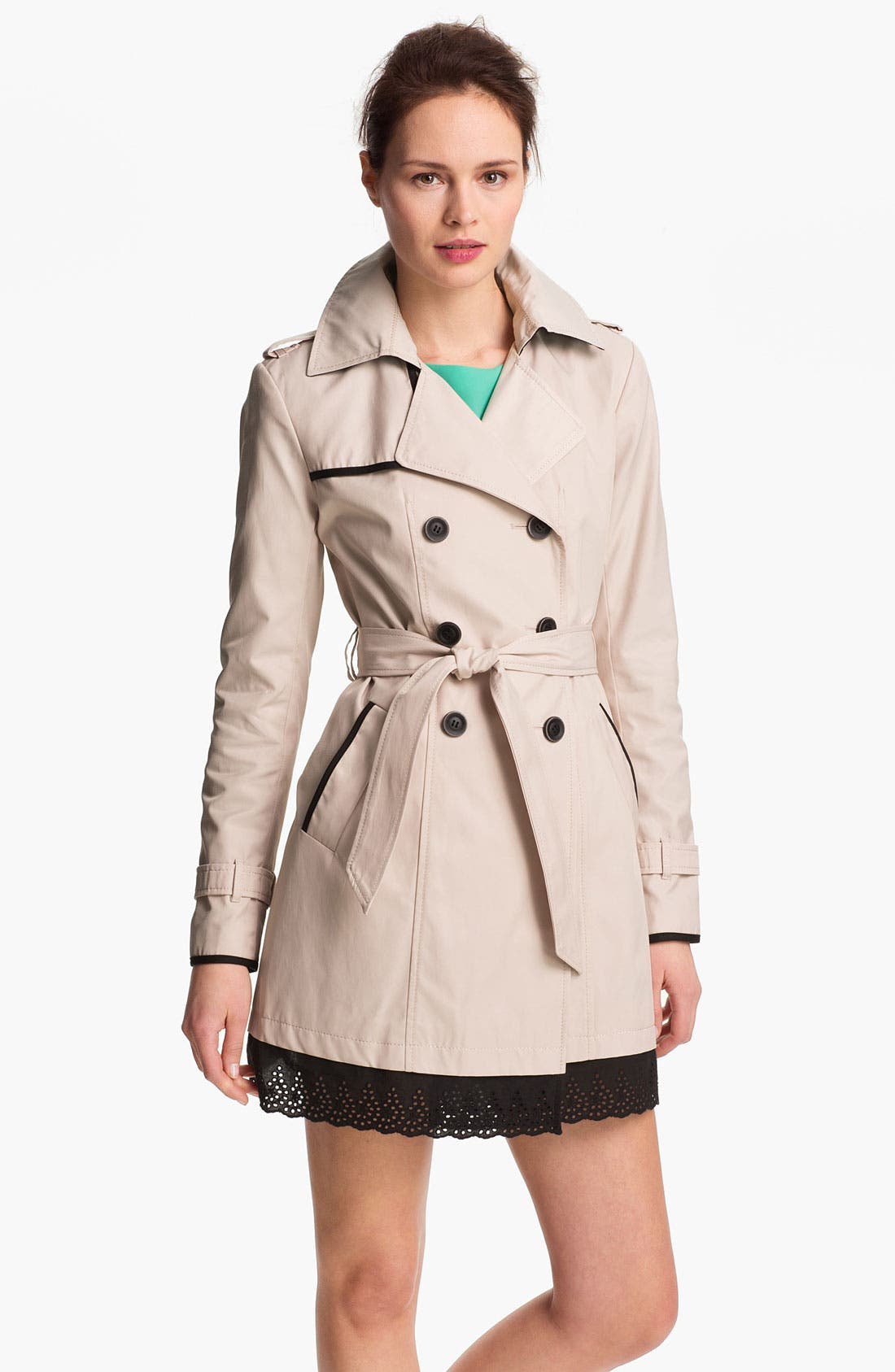 Main Image - Ivanka Trump Eyelet Trim Trench Coat (Online Only)
