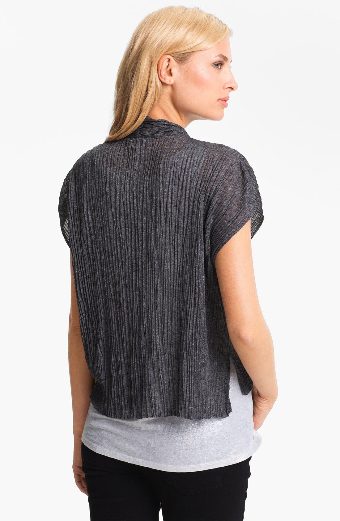 Alternate Image 2  - Eileen Fisher Crinkled Short Sleeve Cardigan (Petite)