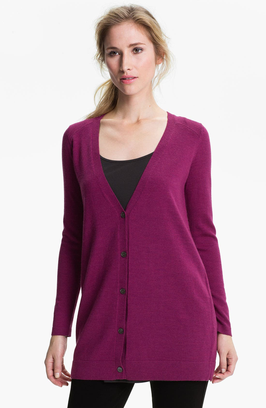 Alternate Image 1 Selected - Eileen Fisher Merino Boyfriend Cardigan (Petite)