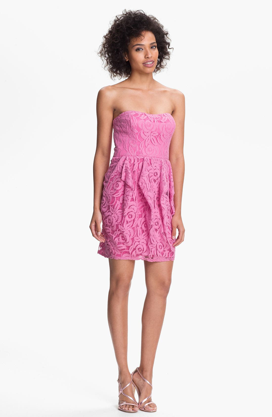 Alternate Image 1 Selected - Jessica Simpson Strapless Ruffled Lace Dress