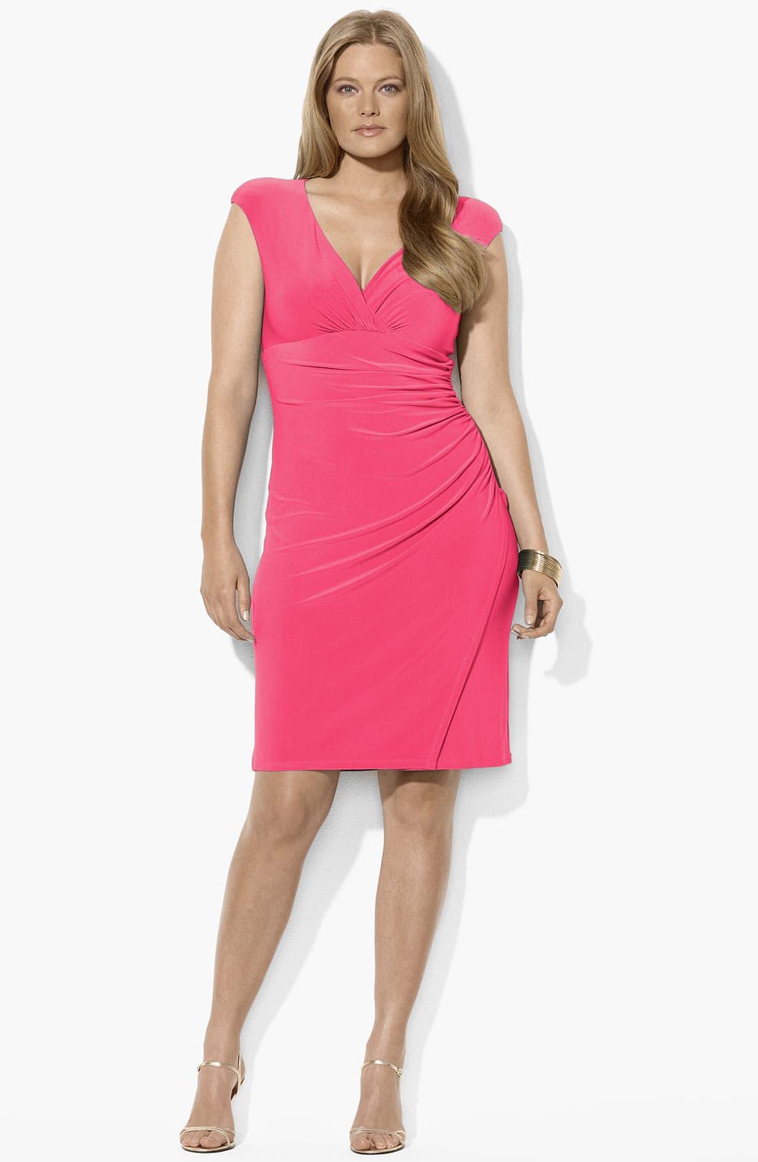 Main Image - Lauren Ralph Lauren Ruched Jersey Dress (Plus Size) (Online Only)