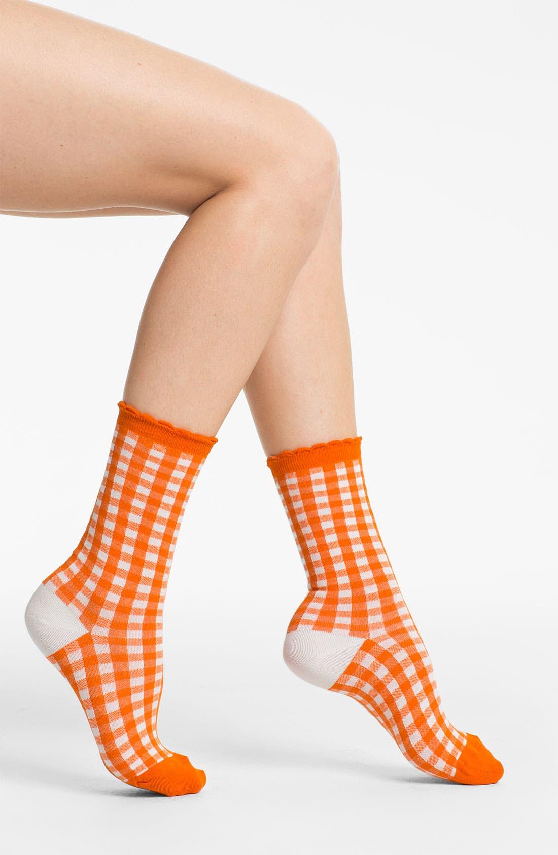 Alternate Image 1 Selected - kate spade new york gingham check crew socks (2 for $18)