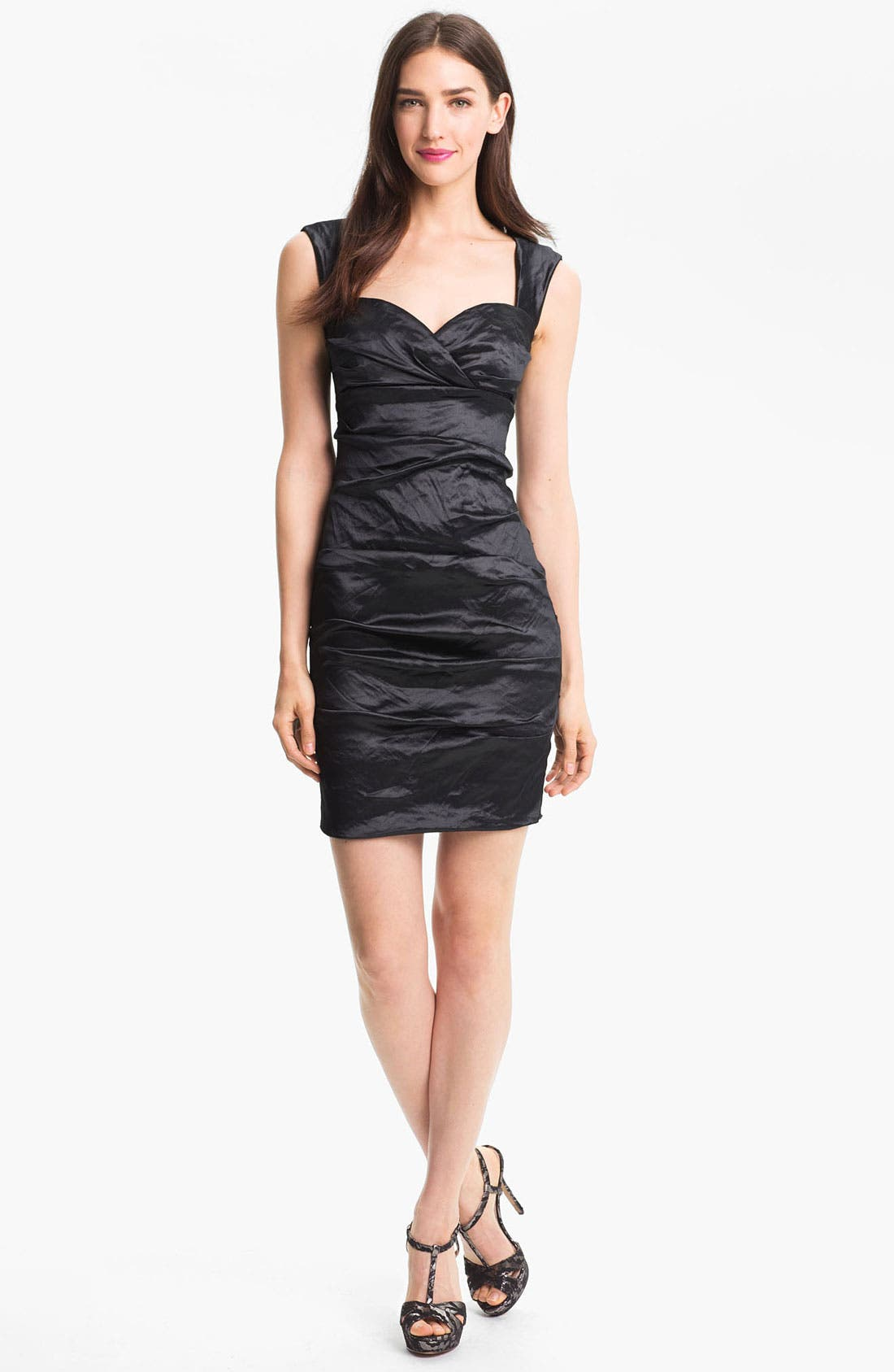 Alternate Image 1 Selected - Nicole Miller Techno Metal Faille Sheath Dress