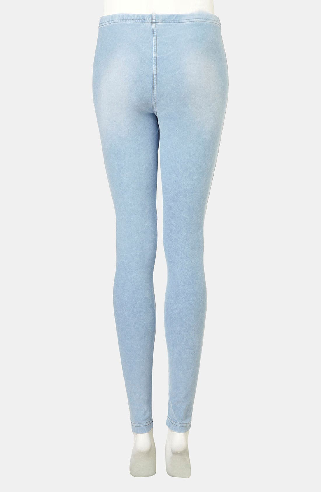 Alternate Image 2  - Topshop Bleach-Wash Denim Leggings