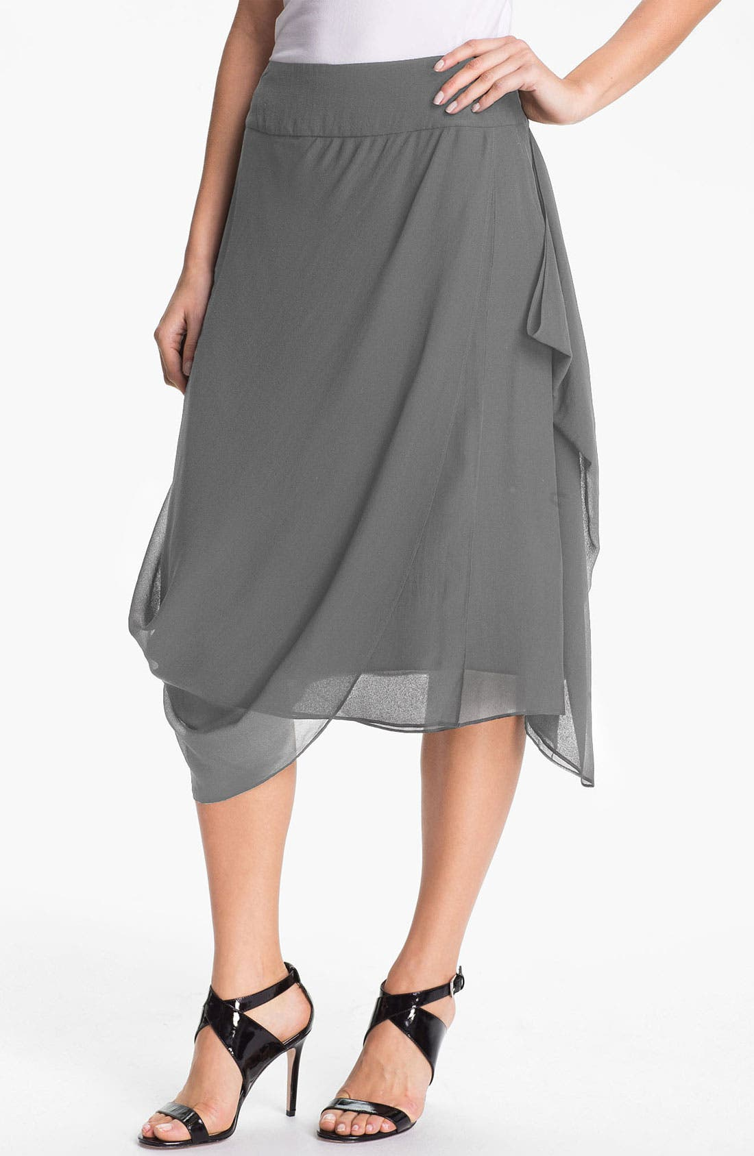Main Image - Eileen Fisher Draped Silk Georgette Skirt (Online Only)