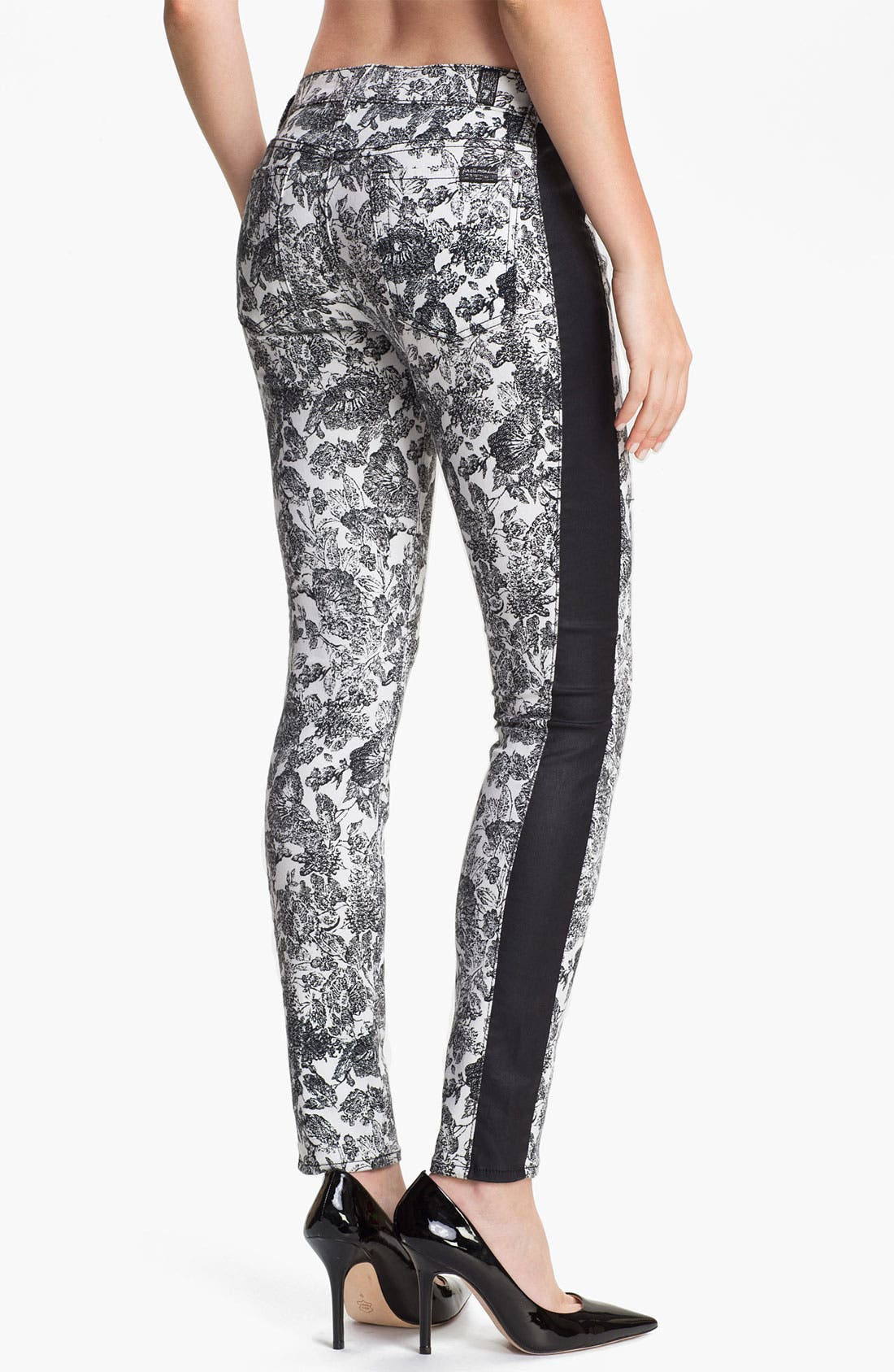 Alternate Image 2  - 7 For All Mankind® 'The Skinny' Print Tuxedo Jeans (Etched Floral)