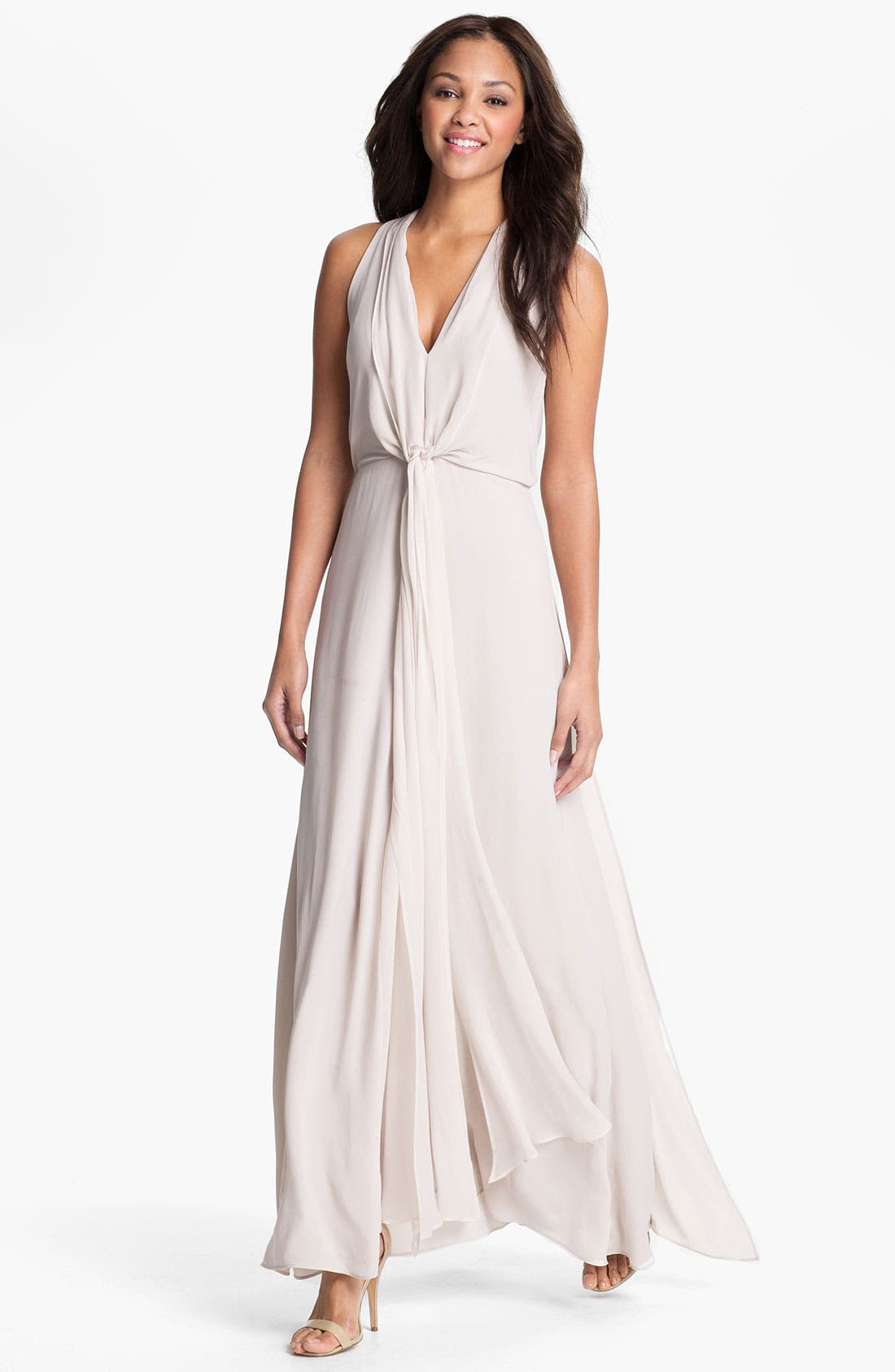 Alternate Image 1 Selected - BCBGMAXAZRIA Front Drape Chiffon Gown