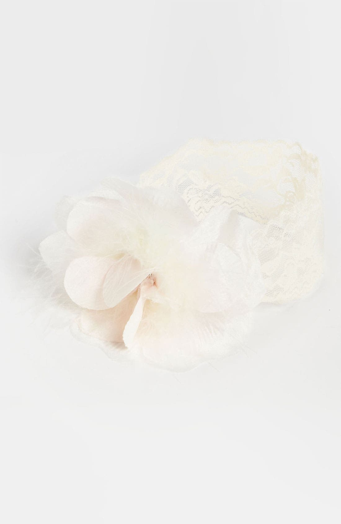 Alternate Image 1 Selected - PLH Bows & Laces Silk Flower & Feathers Headband (Baby Girls & Toddler Girls)