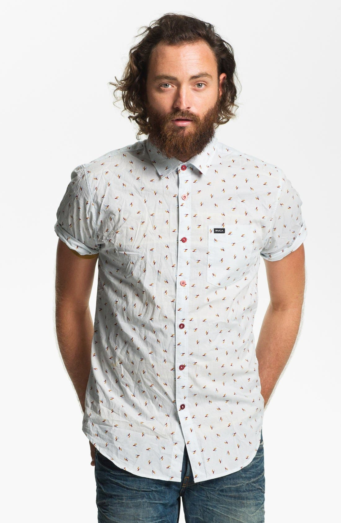 Alternate Image 1 Selected - RVCA 'Avalon' Slim Fit Short Sleeve Sport Shirt