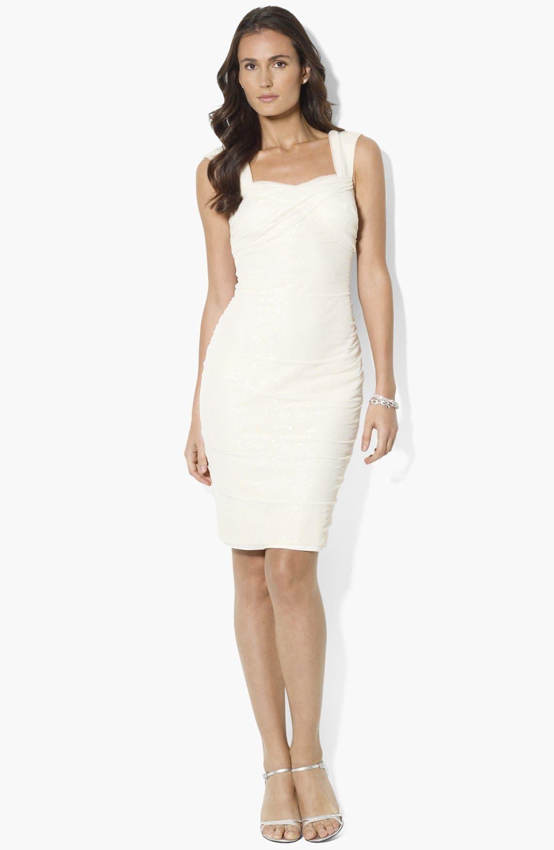 Main Image - Lauren Ralph Lauren Sequin Mesh Sheath Dress